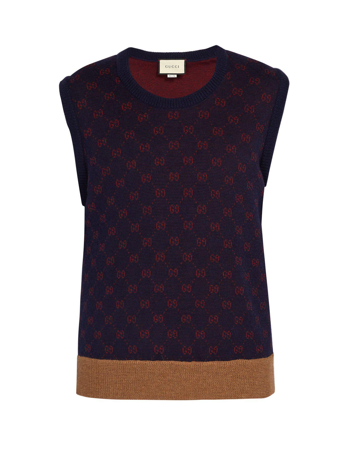 c82f2302845 Gucci - Blue Sleeveless Gg Jacquard Wool Blend Sweater for Men - Lyst. View  fullscreen