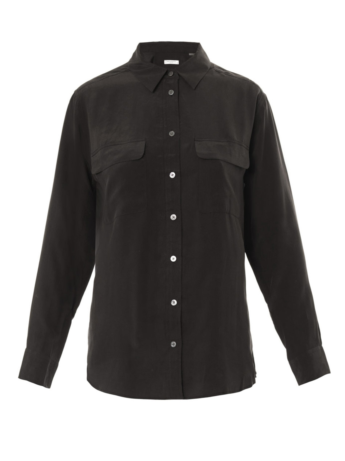 Equipment signature washed silk shirt in black lyst for Equipment black silk shirt
