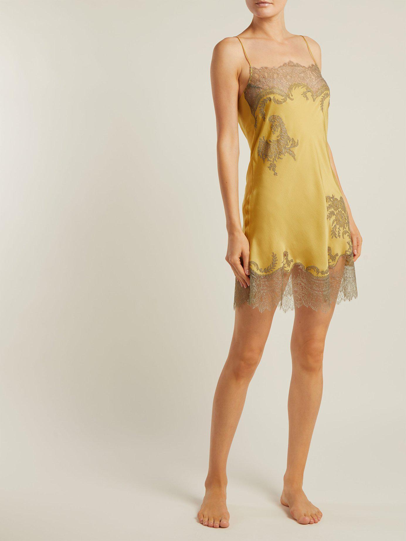 45e03f0a3584 Lyst - Carine Gilson Lace Trimmed Silk Satin Slip Dress in Yellow