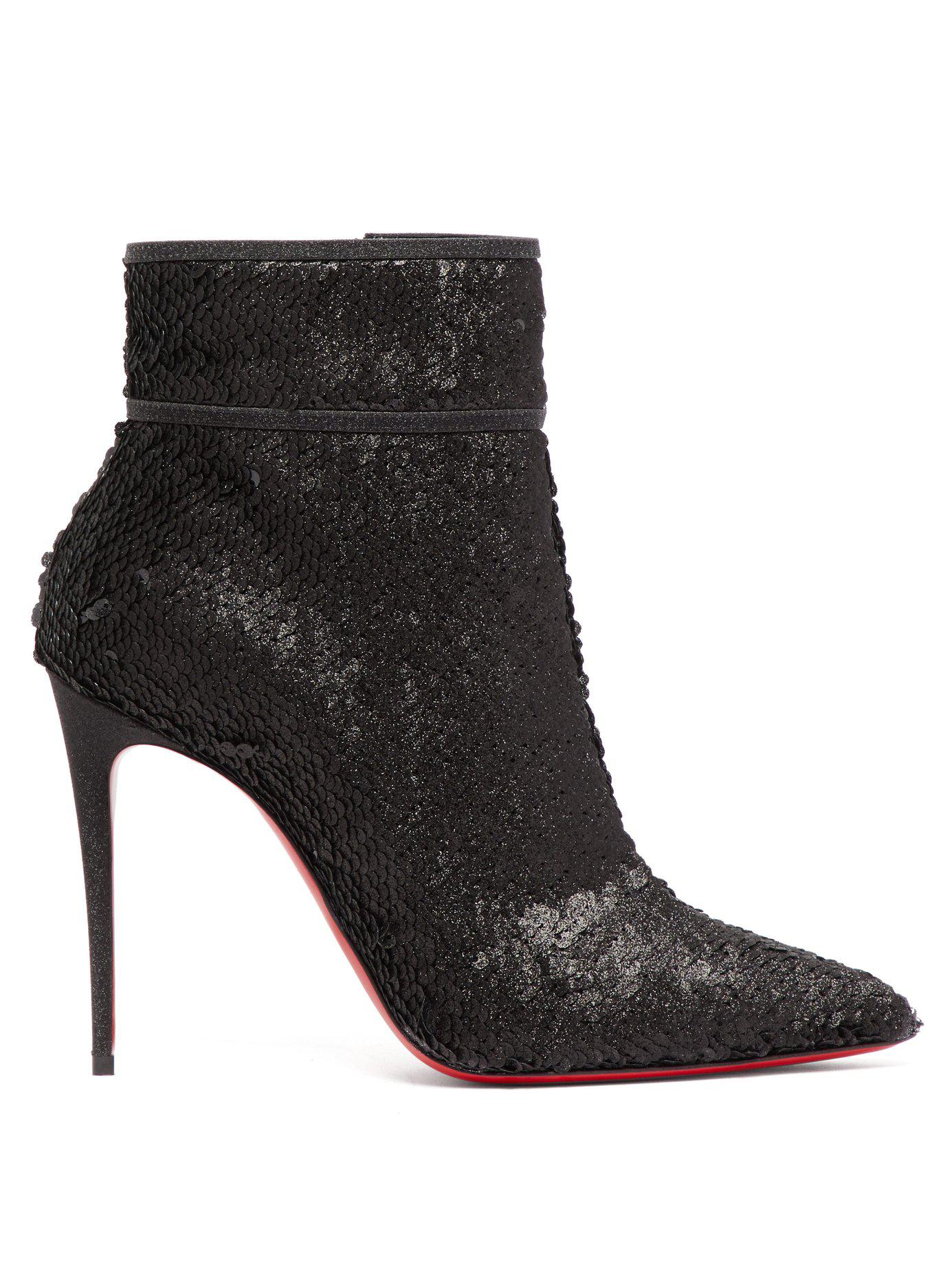 1363672e4e79 Lyst - Christian Louboutin Moulakate 100 Sequin Ankle Boots in Black