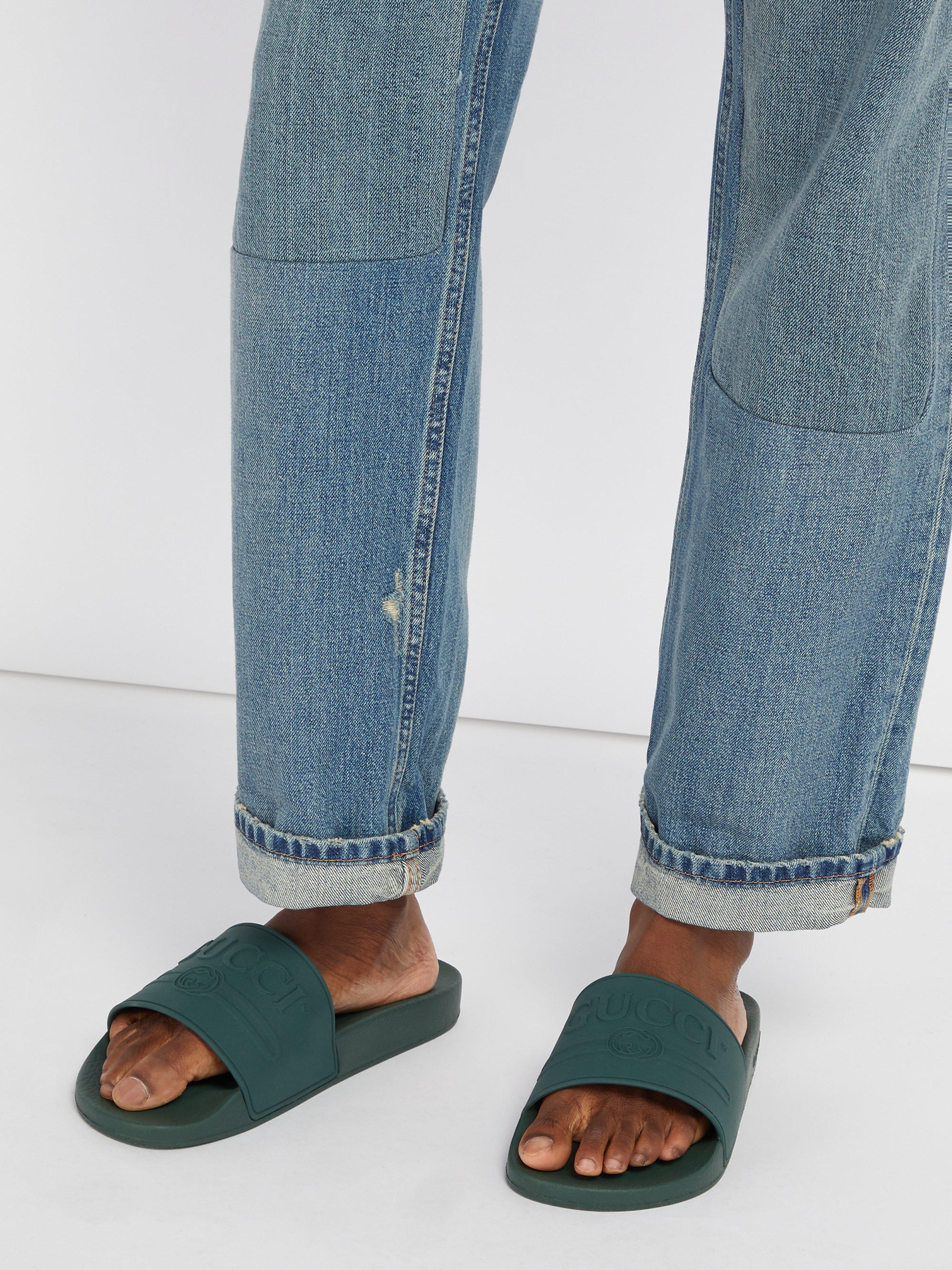 06807bd4f Gucci Pursuit Rubber Slides for Men - Lyst