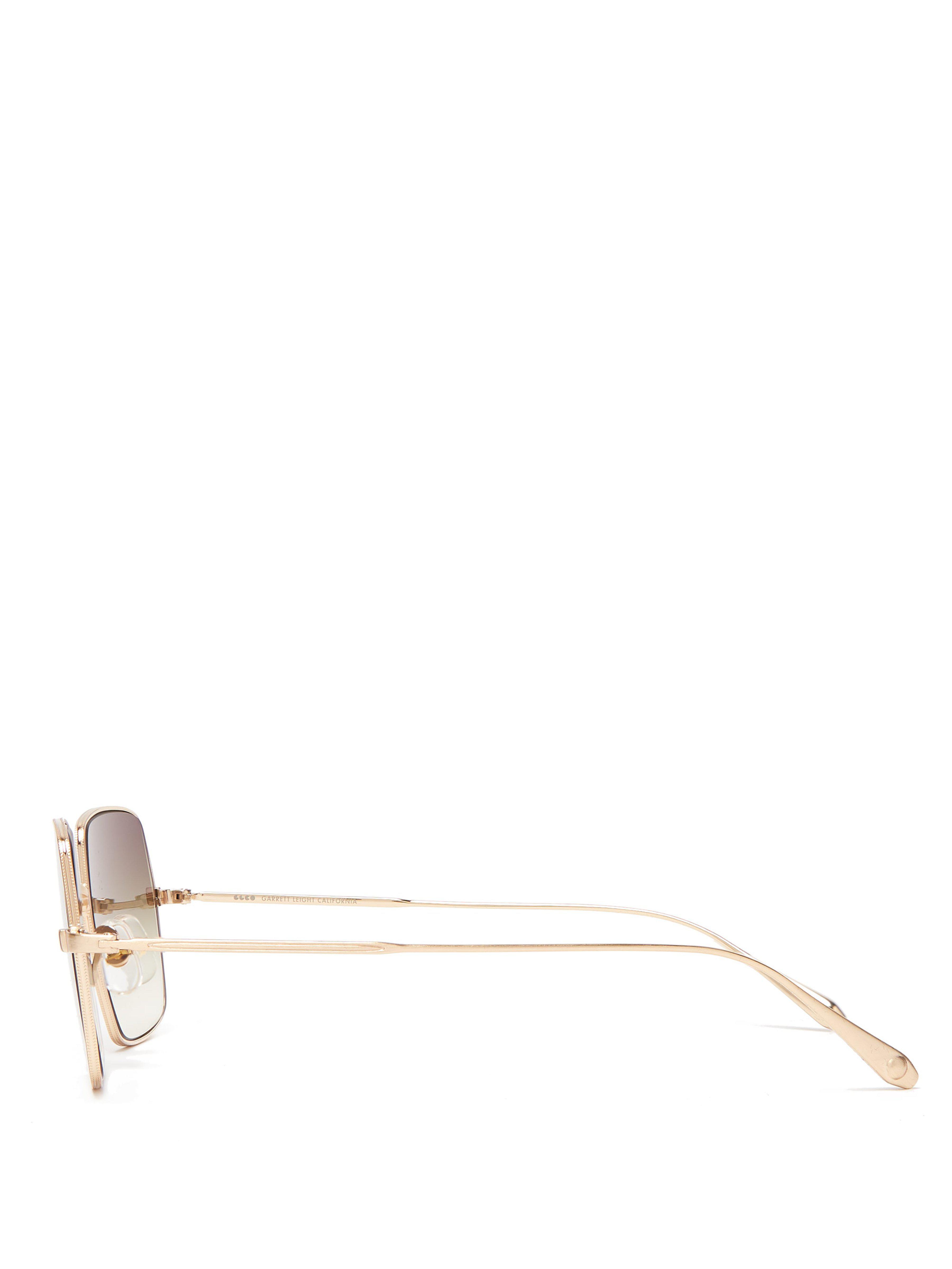 8d9a599f75 Garrett Leight Crescent Square Frame Sunglasses in Green - Lyst