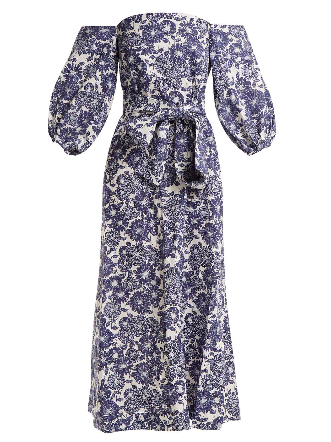 5daf5b3fb5 Lyst - Lisa Marie Fernandez Rosie Floral-print Cotton Dress in Blue