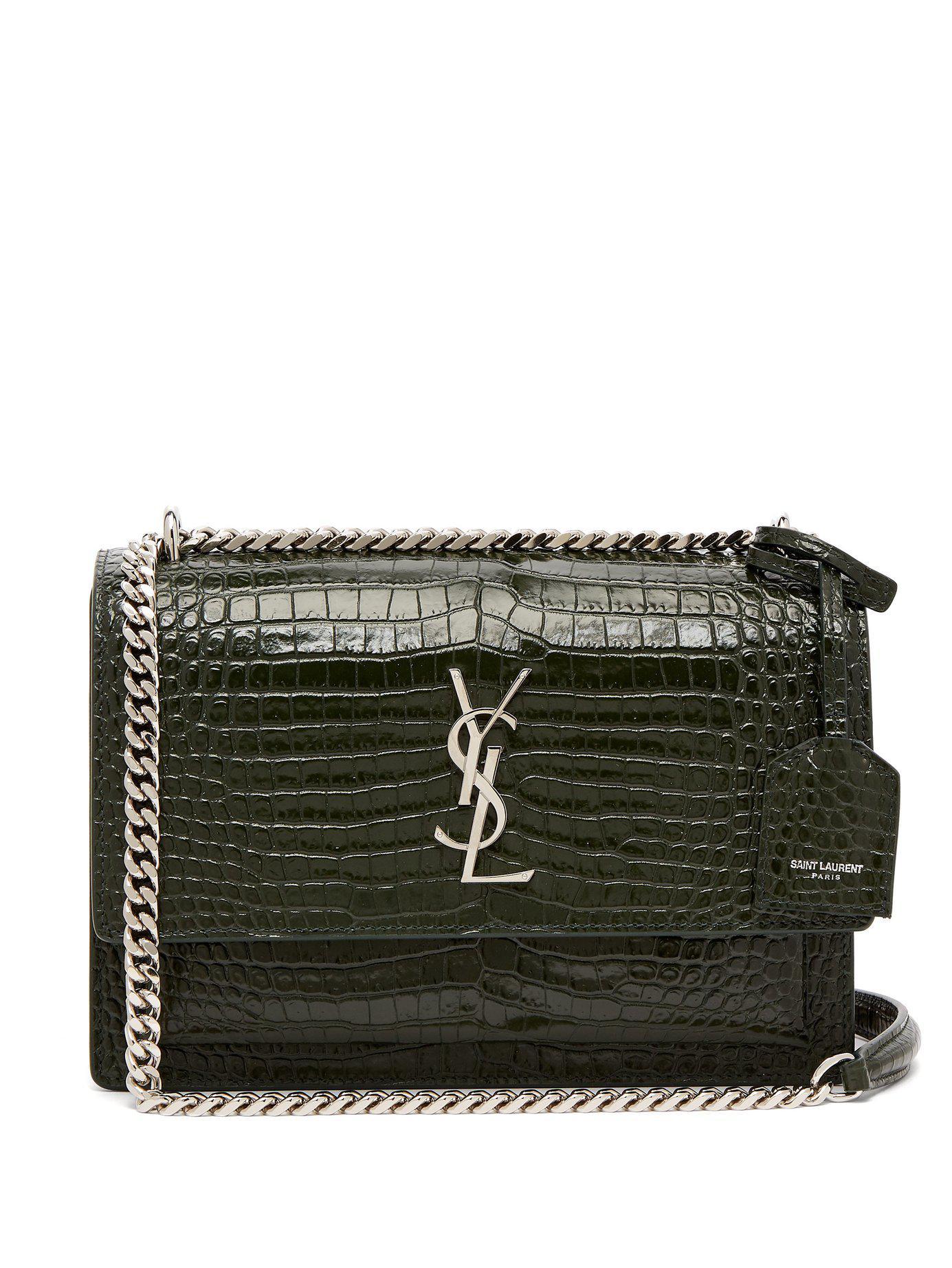 78be20de7 Saint Laurent Sunset Medium Crocodile-effect Leather Bag in Green - Lyst