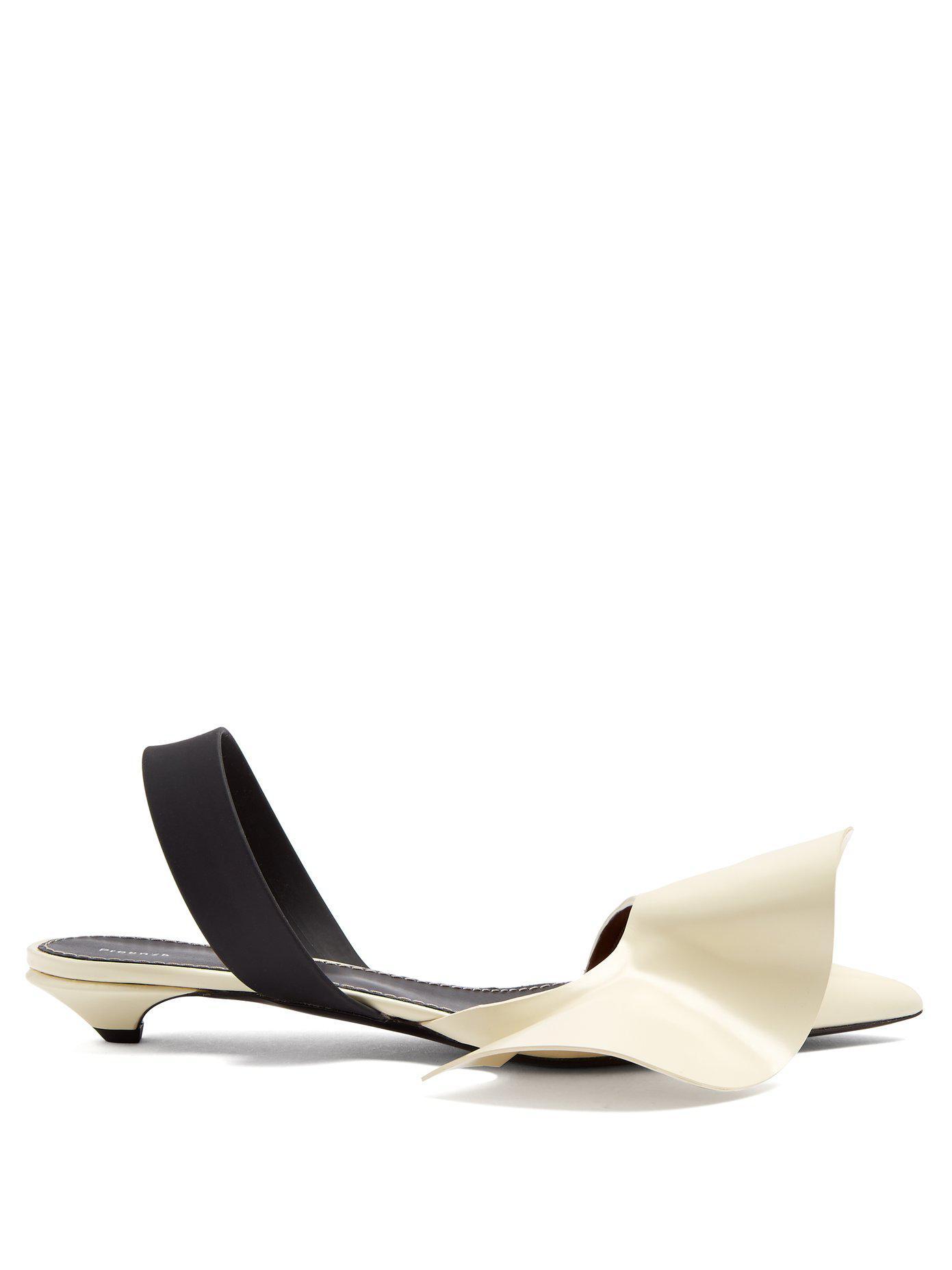 e43b964a370 Proenza Schouler Frill-detailed Leather Kitten-heel Slingback Pumps ...