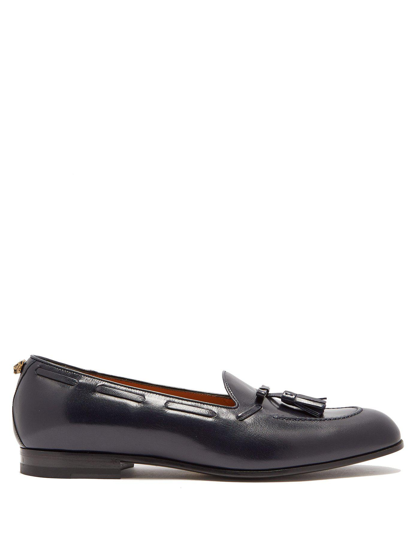 7b3cd91dd0a Lyst - Gucci Leather Tassel Loafers in Blue for Men
