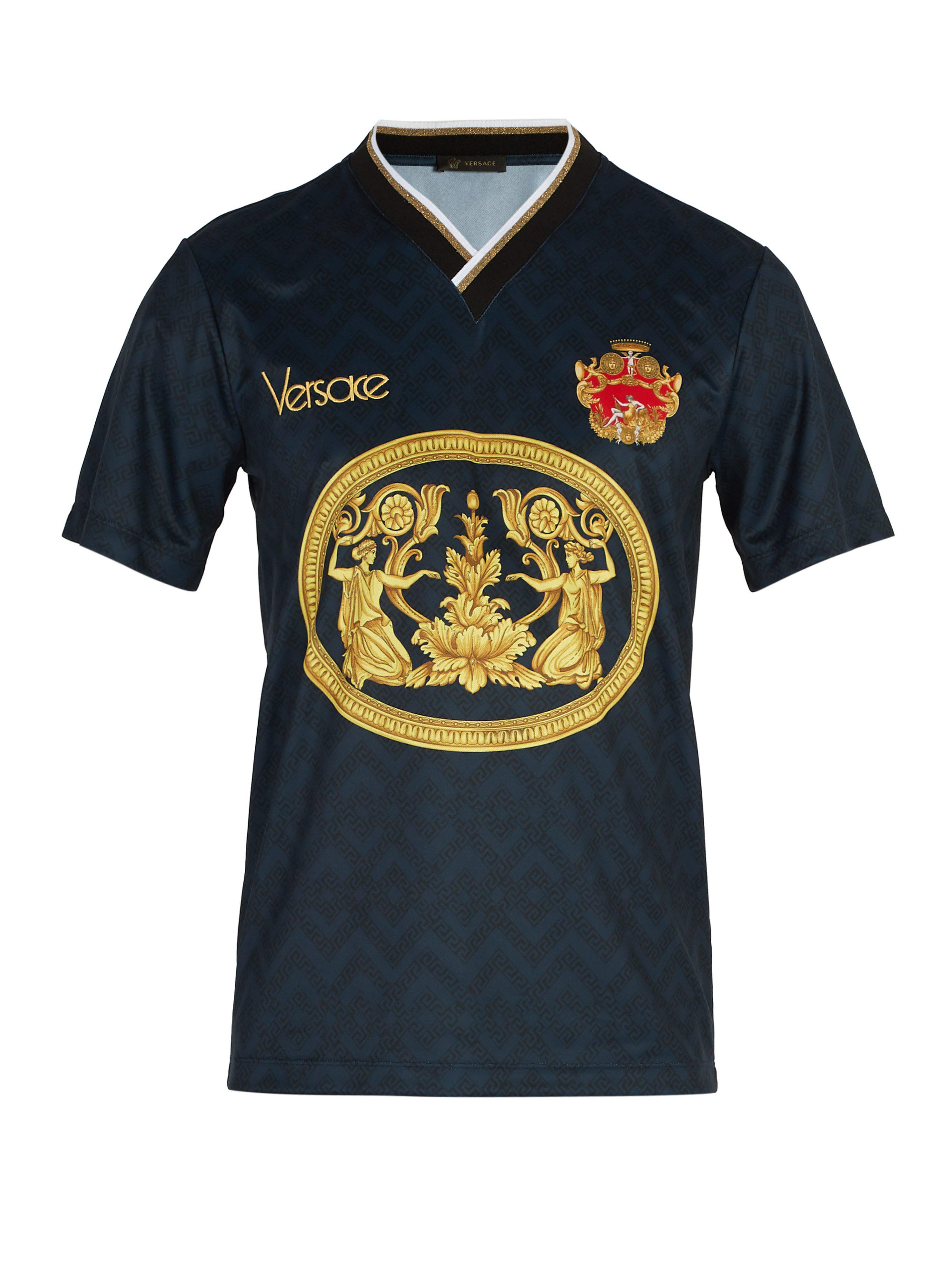 4becb572 Versace Archive-print Football V-neck T-shirt in Blue for Men - Lyst