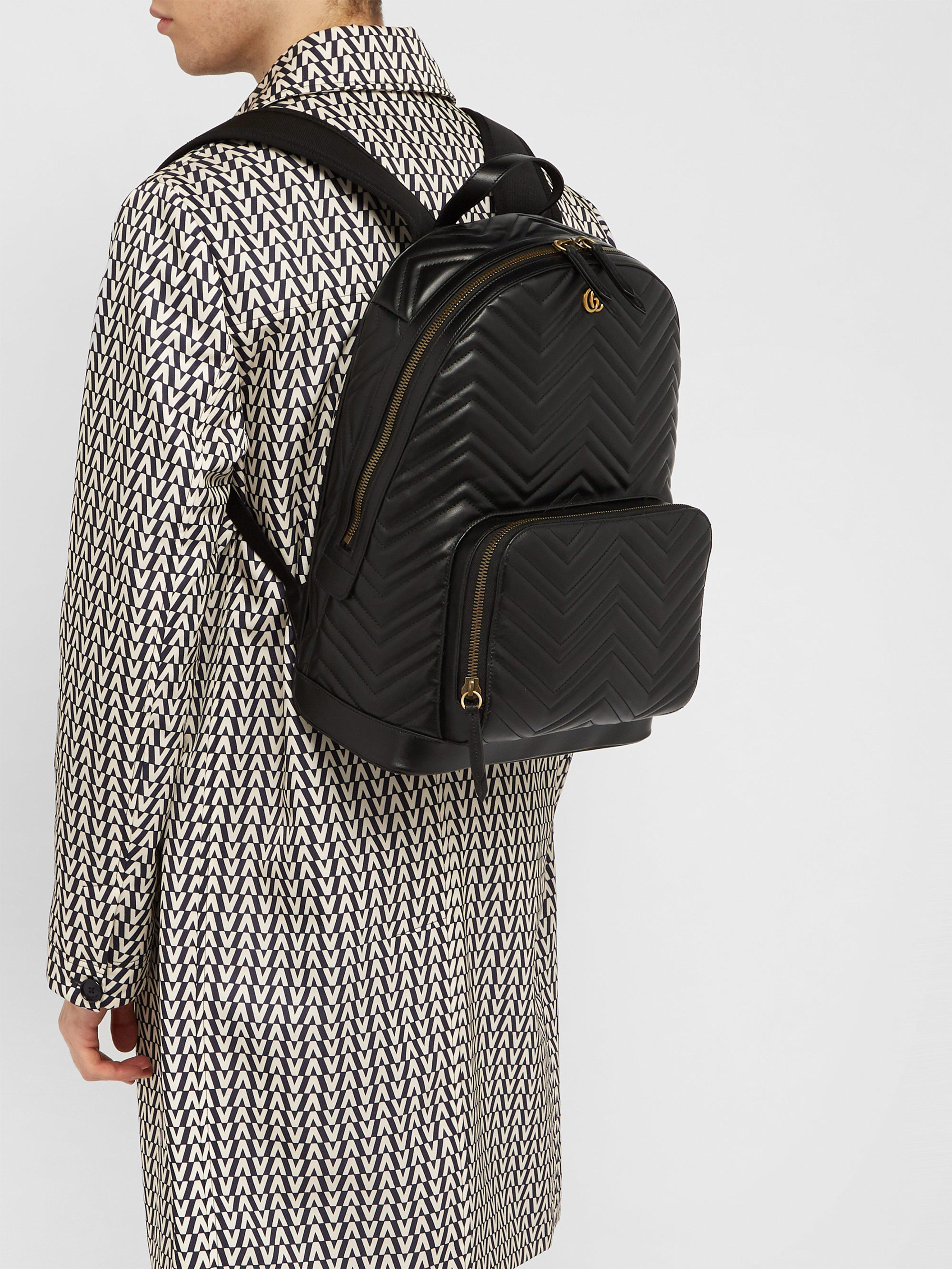 023c3b5489b0 Gucci - Black Marmont Leather Backpack for Men - Lyst. View fullscreen