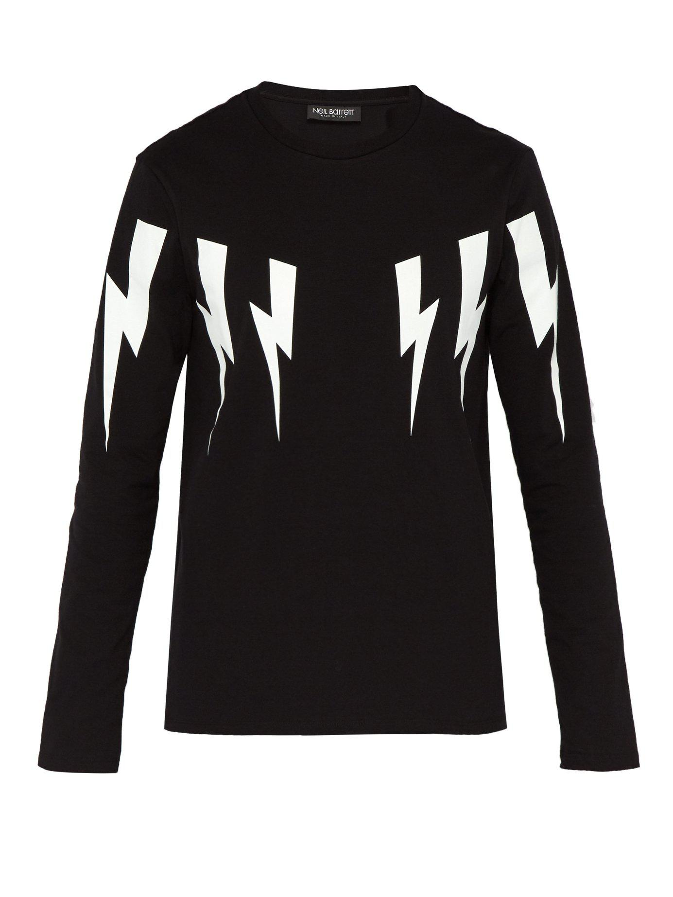 576f1df99 Neil Barrett - Black Lightning Bolt Cotton Blend T Shirt for Men - Lyst.  View fullscreen
