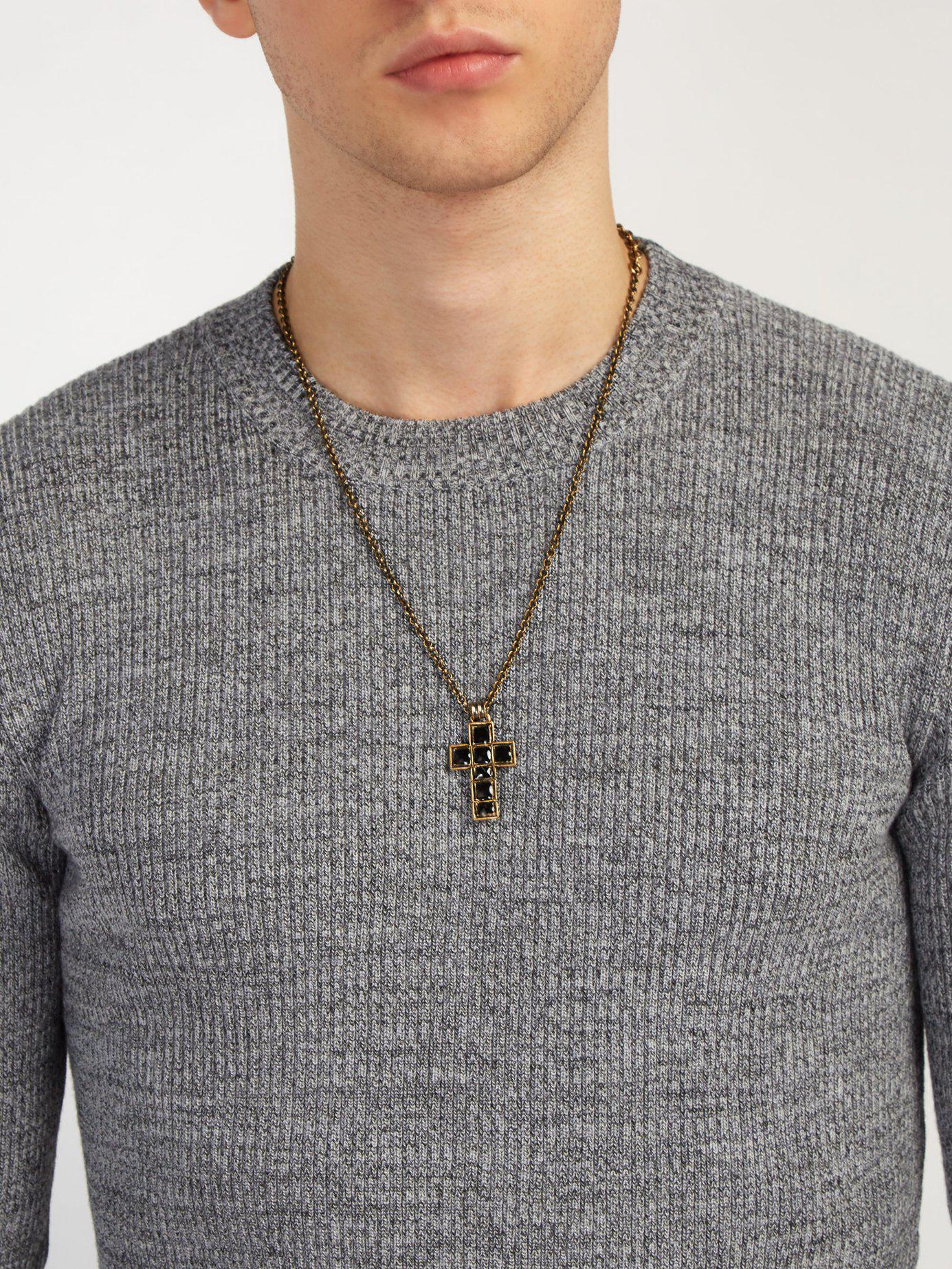 053fee205 Gucci - Black Cross Pendant Necklace for Men - Lyst. View fullscreen
