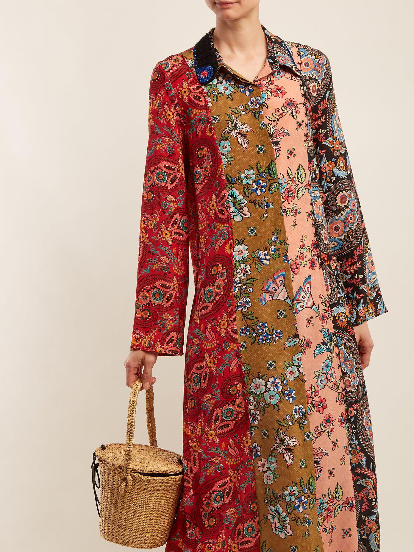 Augustina panelled silk-crepe dress Anjuna j5E42W