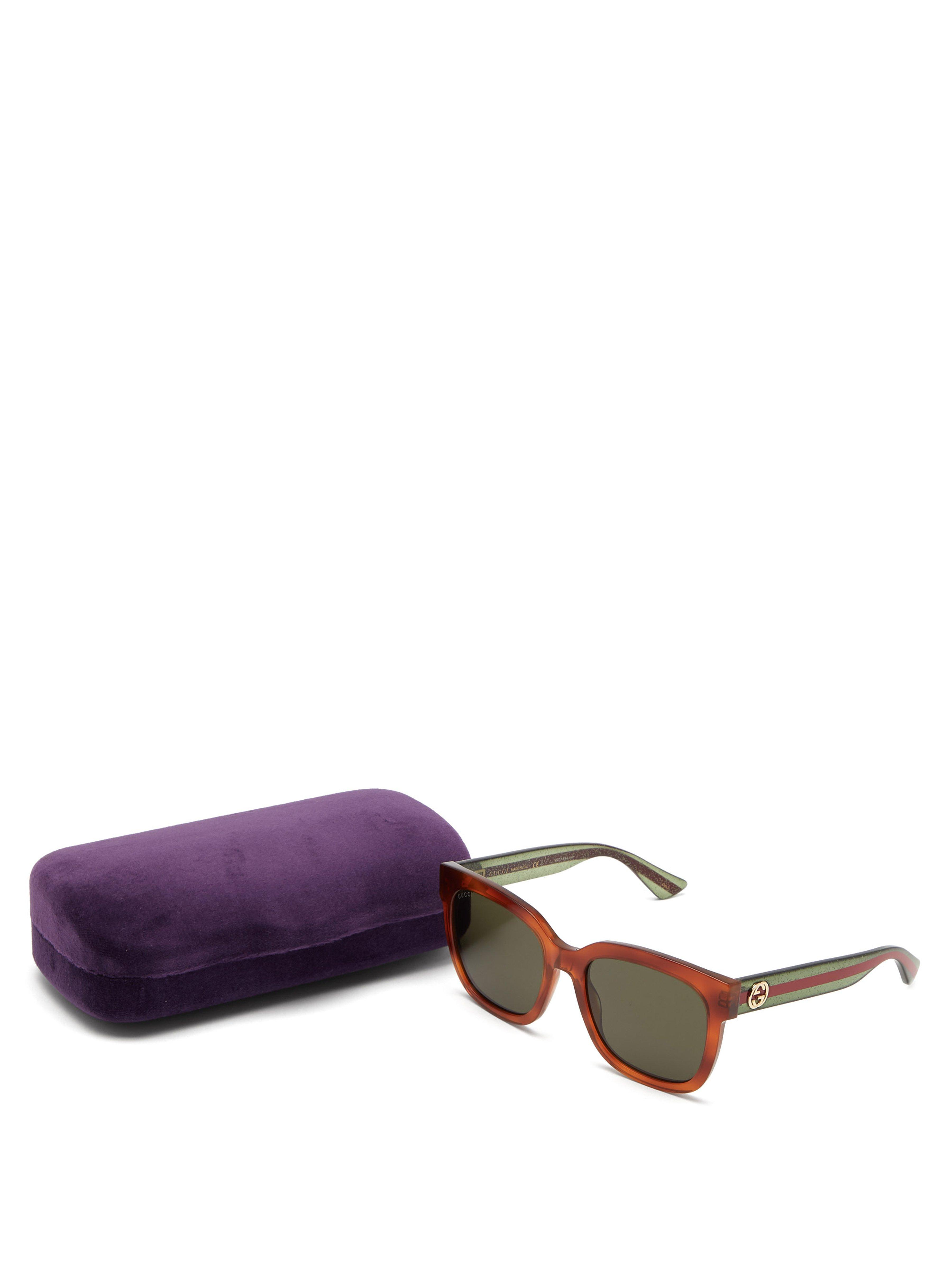 12d2f88063 Gucci - Green Web Striped Square Frame Acetate Sunglasses - Lyst. View  fullscreen