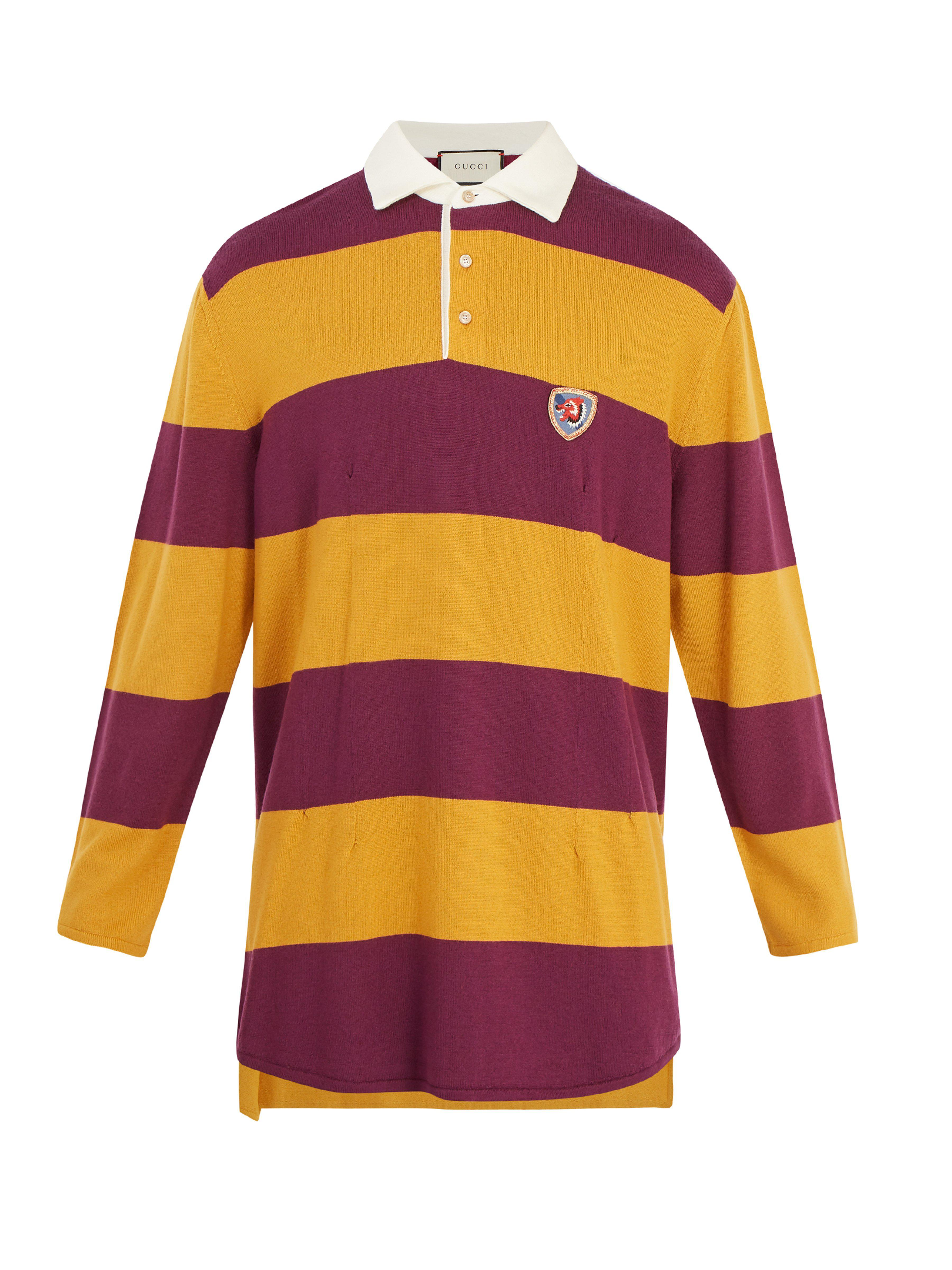 df52401a5640 Gucci Wolf-embroidered Striped Wool Rugby Shirt for Men - Lyst