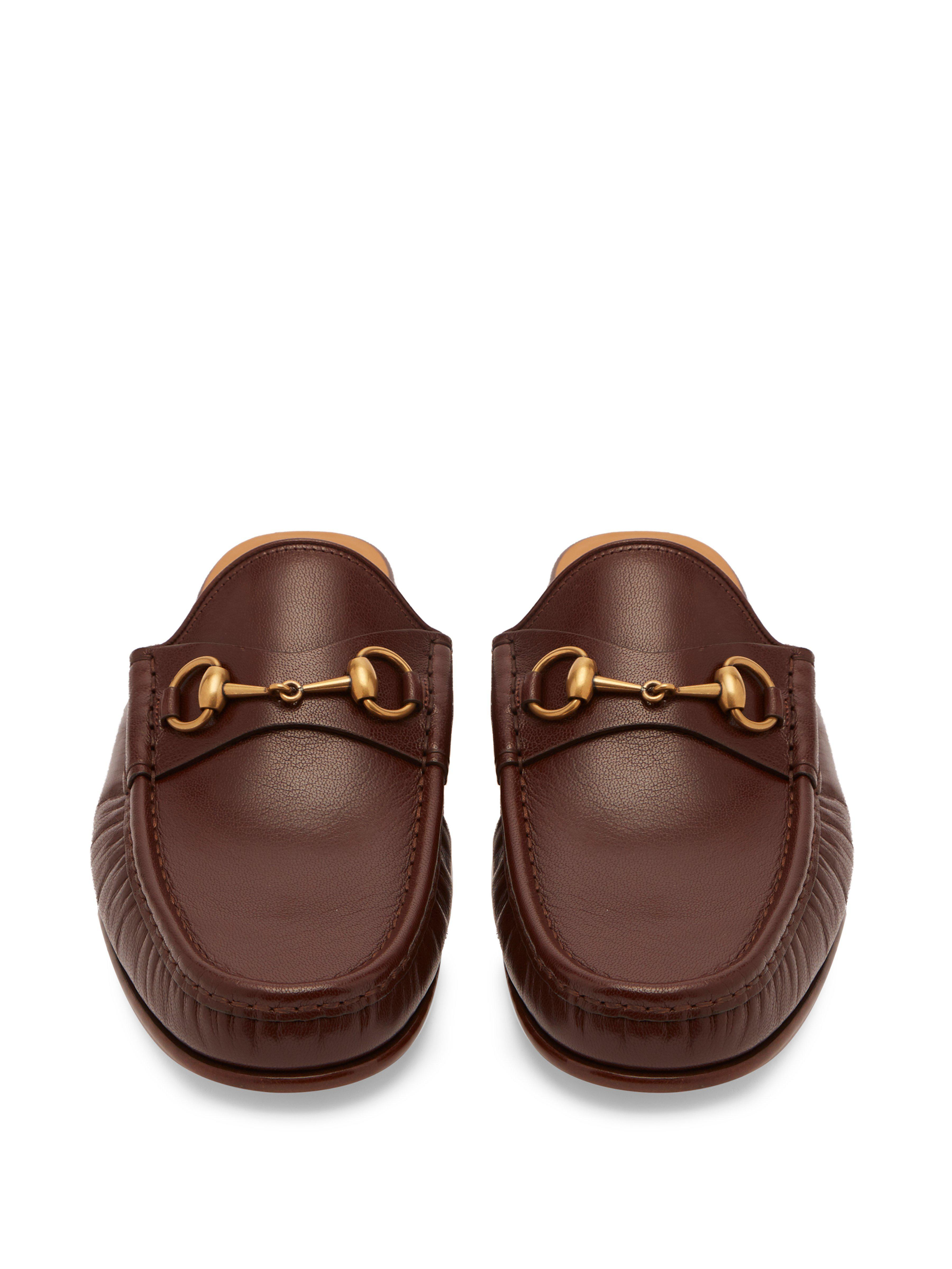 325ac2060ef Gucci - Brown Roos Leather Backless Loafers for Men - Lyst. View fullscreen