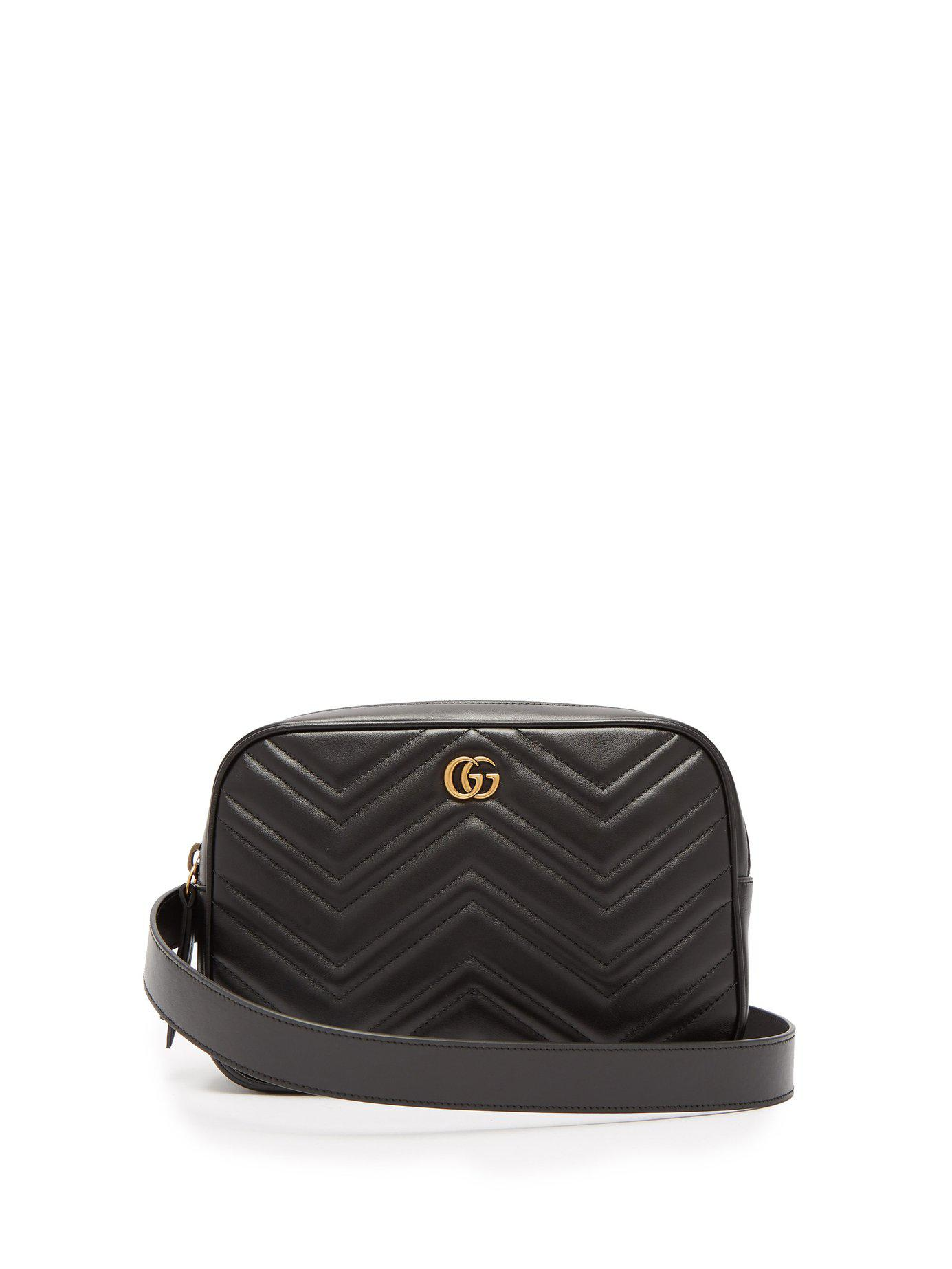 49ca708b4d94b Lyst - Gucci Gg Marmont Quilted Leather Belt Bag in Black