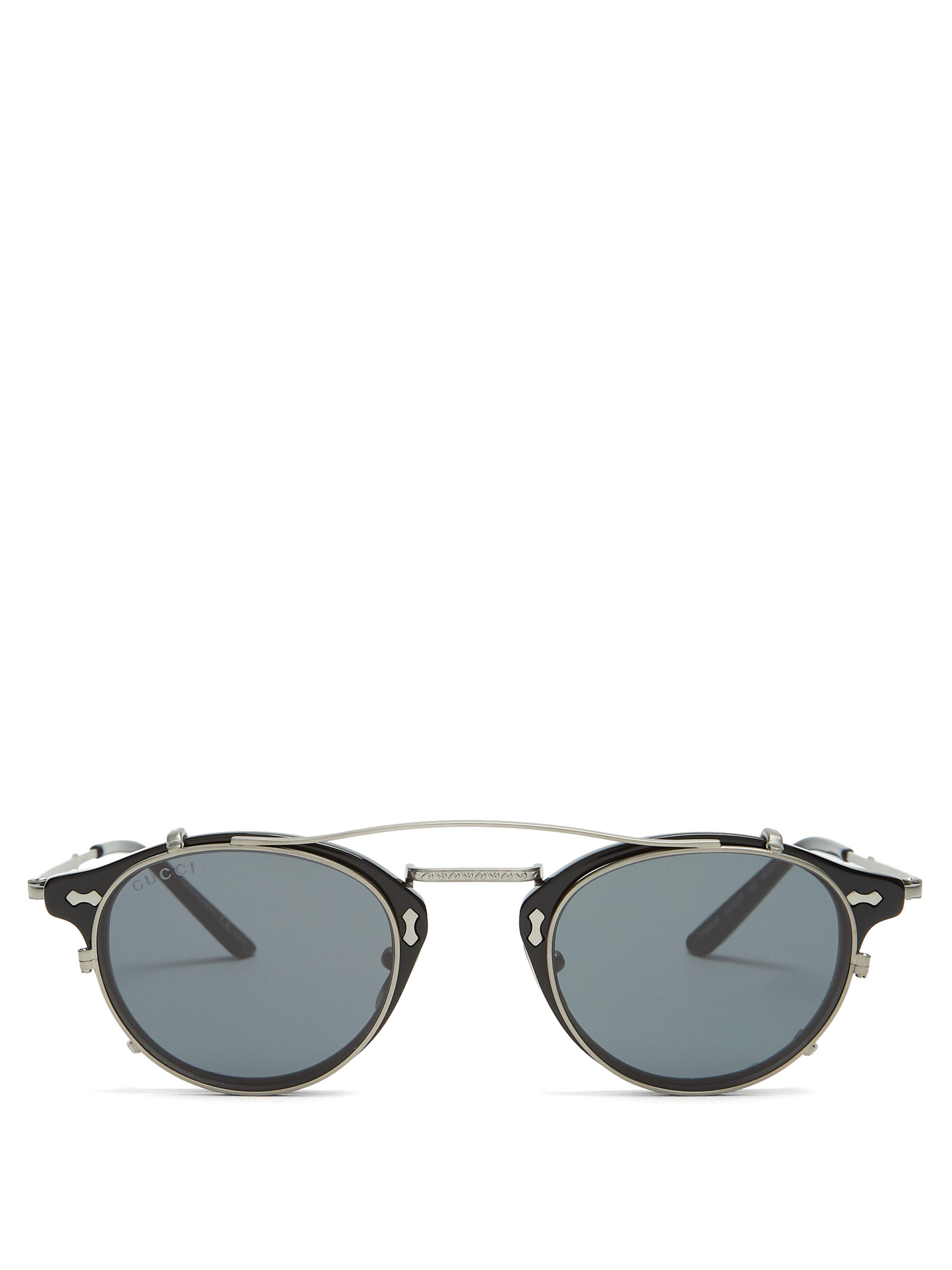 Lyst - Lunettes de soleil rondes à verres amovibles Gucci pour homme ... be9364c85e90