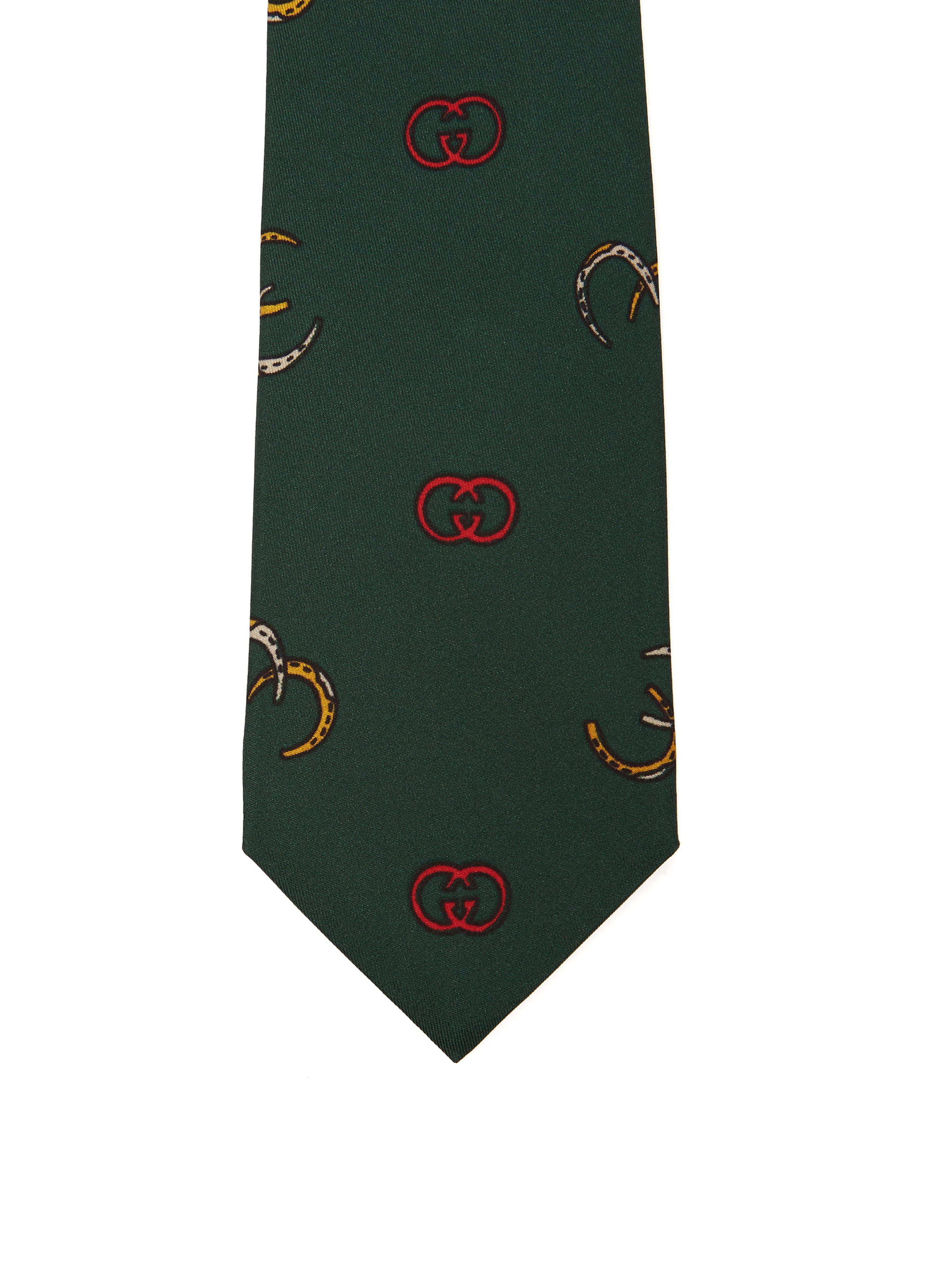 a4cc568413f2 Gucci - Green Gg Logo Print Silk Twill Tie for Men - Lyst. View fullscreen