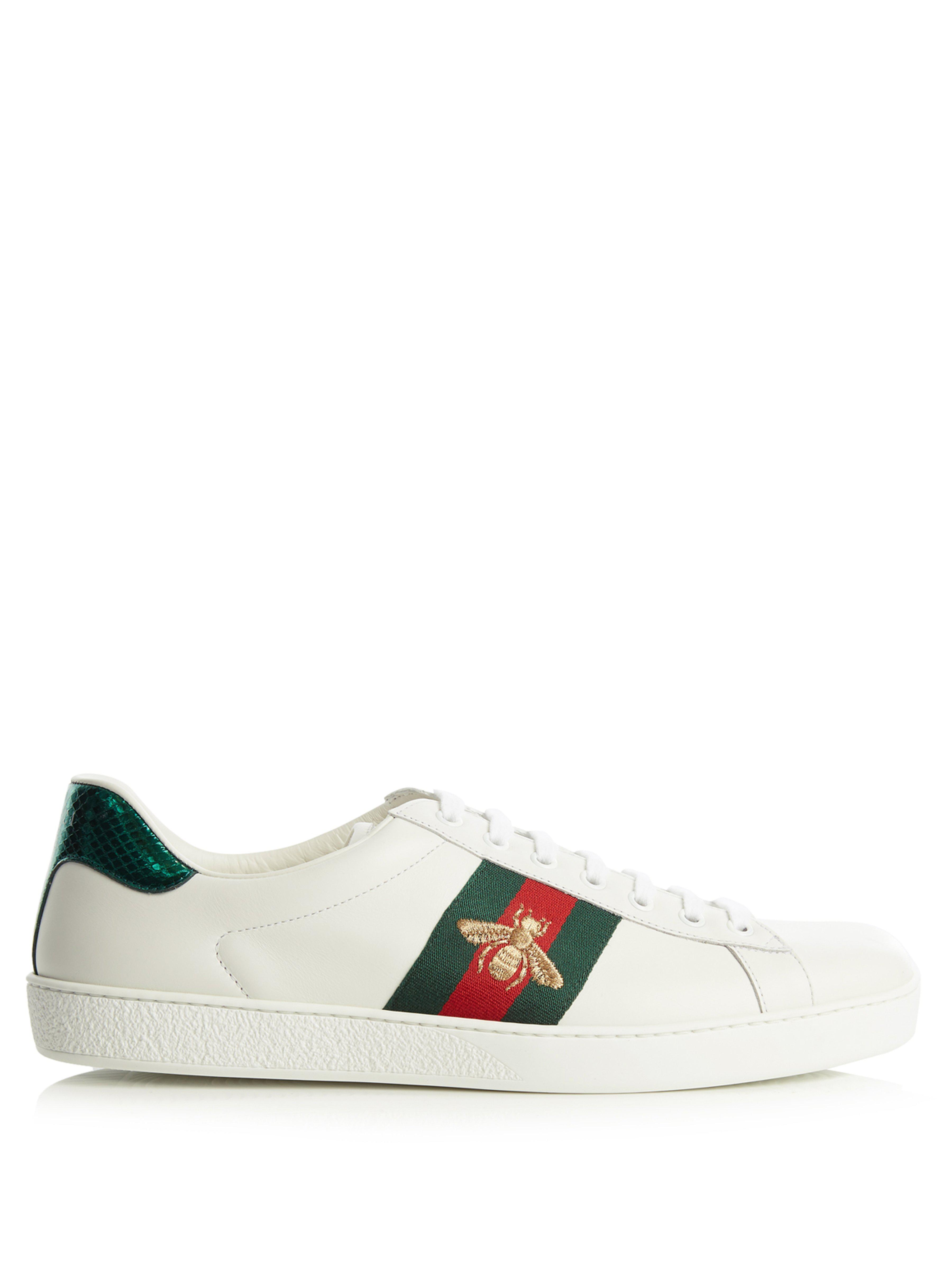 73ef3b8ce03 Gucci Ace Bee Embroidered Low Top Leather Trainers - Save 33% - Lyst