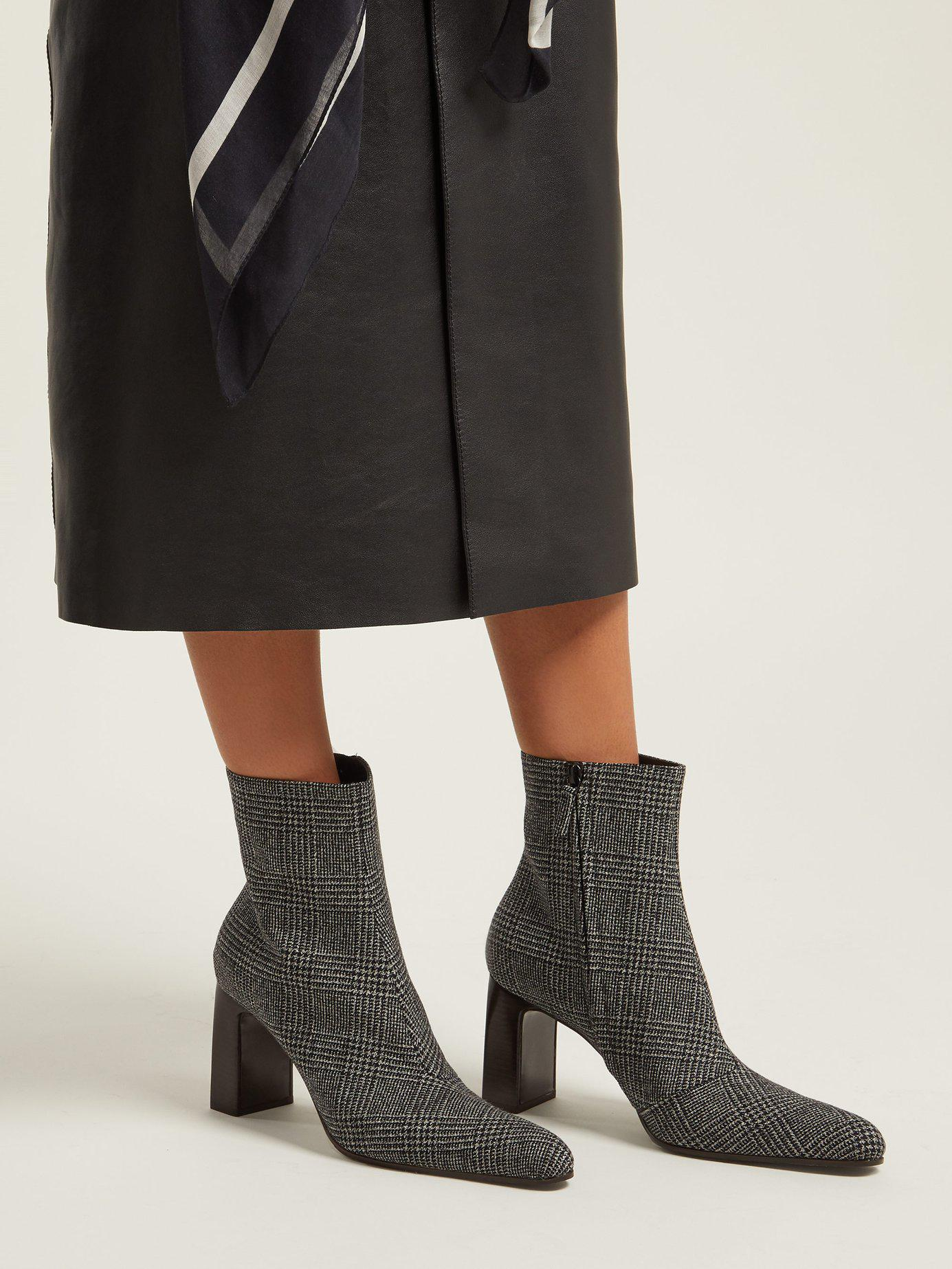 e7fc7444e77 Balenciaga - Gray Prince Of Wales Checked Twill Ankle Boots - Lyst. View  fullscreen