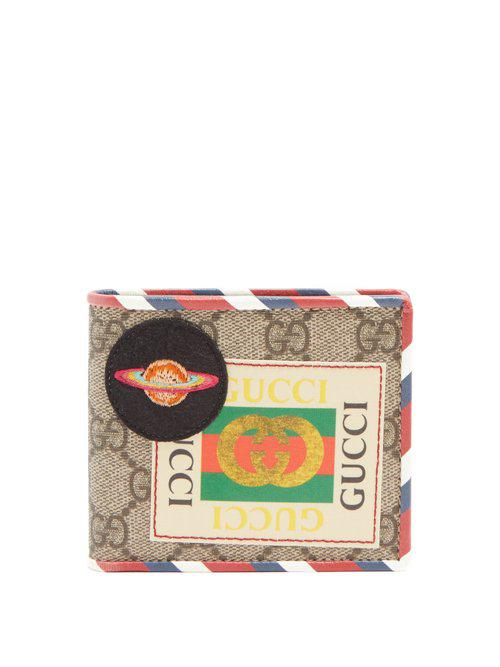 28de0f542d14d6 Gucci Gg Supreme Logo And Planet-patch Wallet in Brown for Men - Lyst