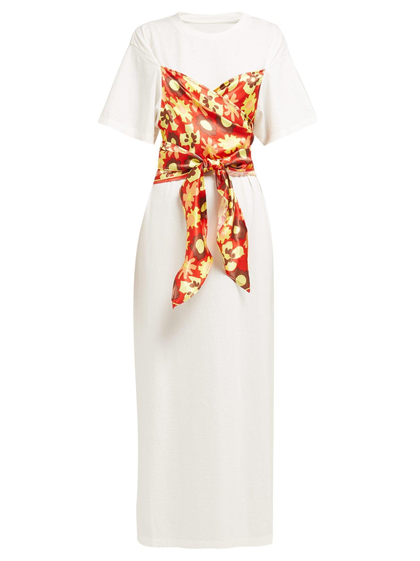 7291c39040a MM6 by Maison Martin Margiela. Women's White Floral Panel Cotton T Shirt  Dress