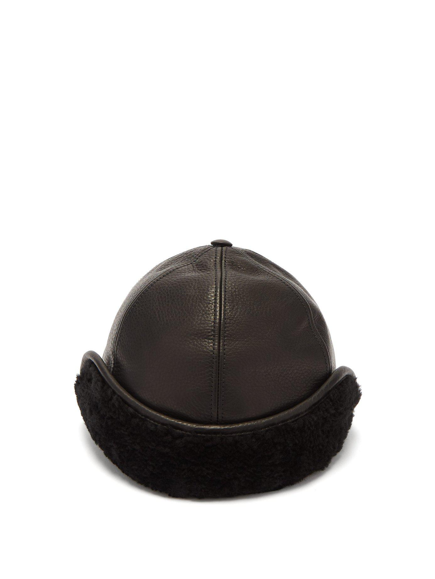 Burberry - Black Explorer Leather Cap - Lyst. View fullscreen 8eb9d1dcd25