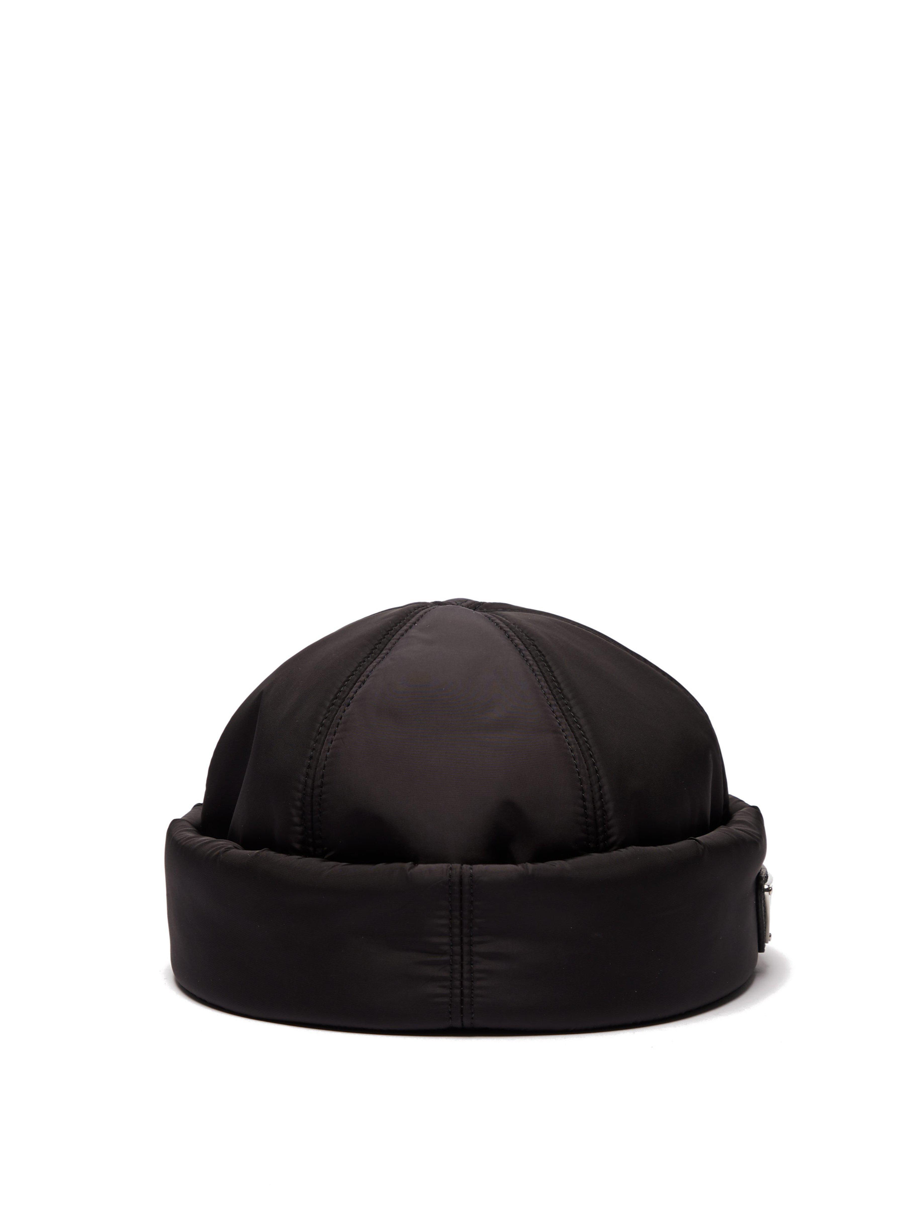 aa5ecfee461 Prada Padded Nylon Beanie Hat in Black for Men - Lyst