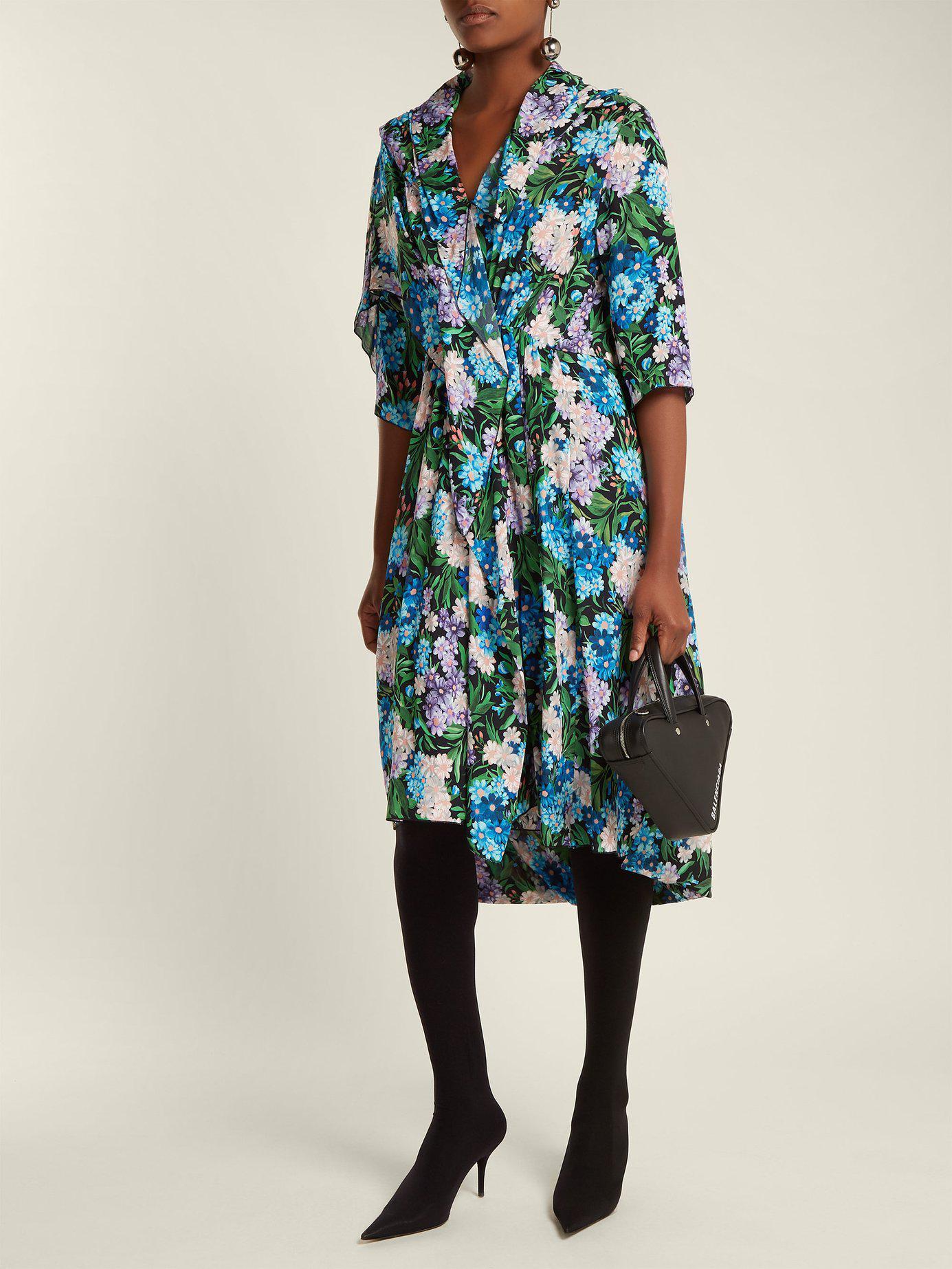 311fd0644001 Lyst - Balenciaga Draped Floral Printed Midi Dress in Blue