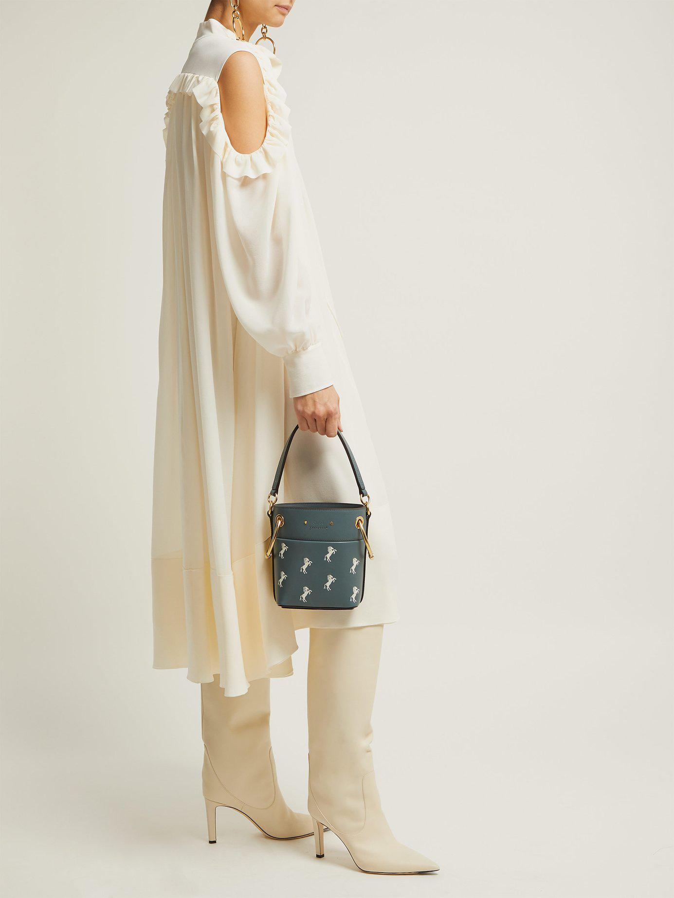 cd1cb268b4f2 Lyst - Chloé Roy Little Horses Embroidered Leather Bucket Bag in Blue