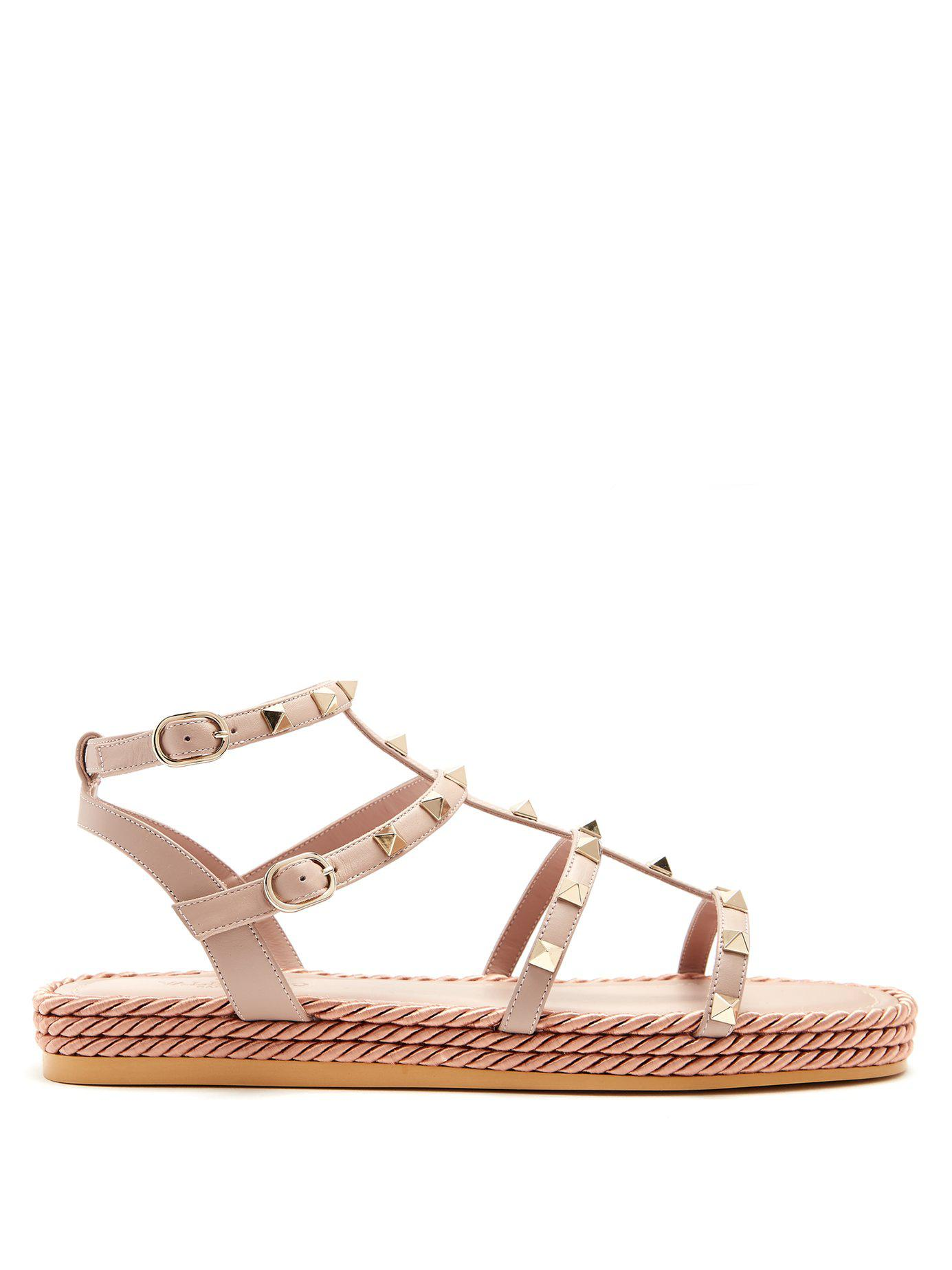 94d551d60af Valentino. Women s Torchon Rockstud Leather Sandals