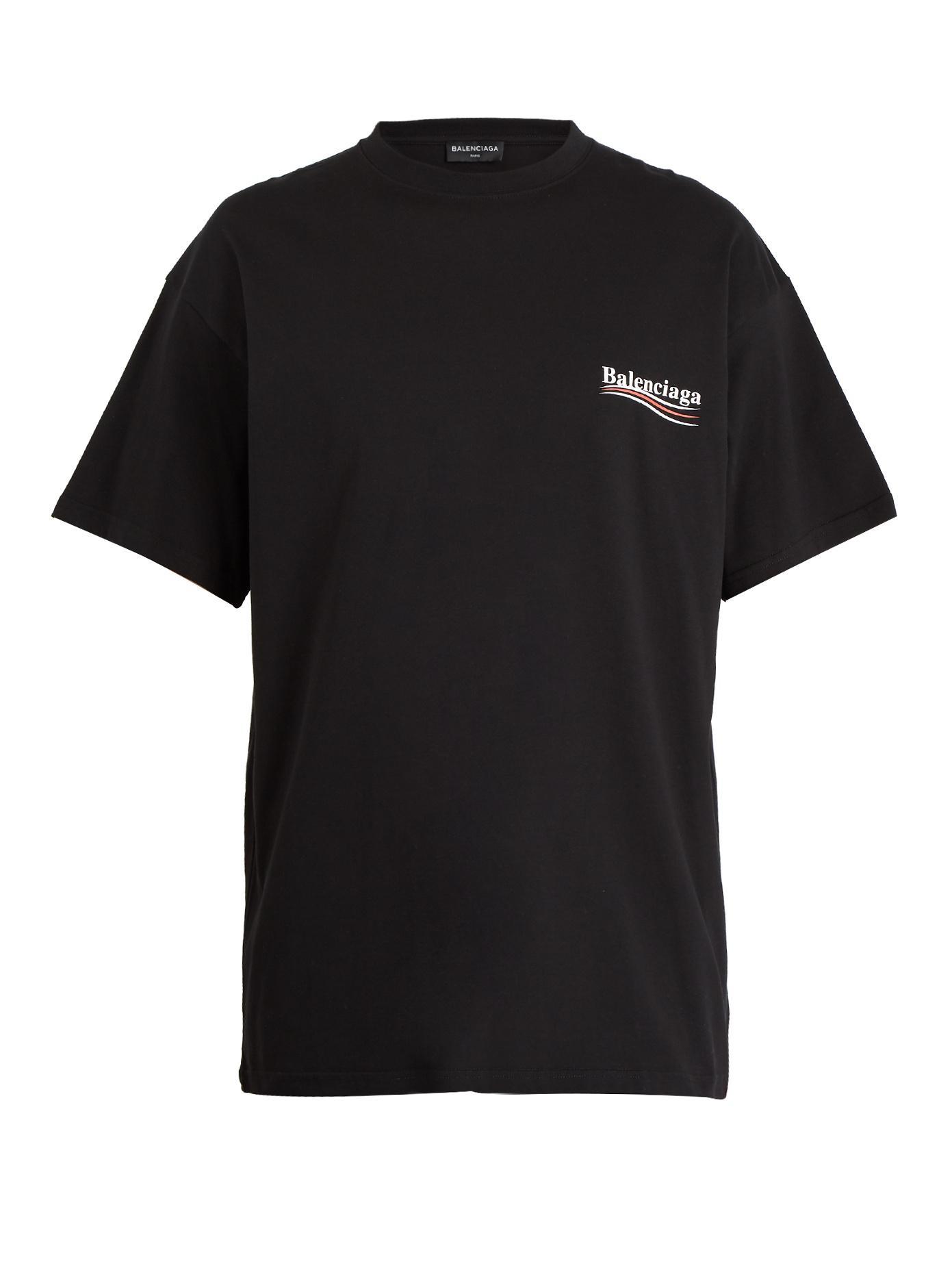 Lyst Balenciaga Logo Print Cotton Jersey T Shirt In