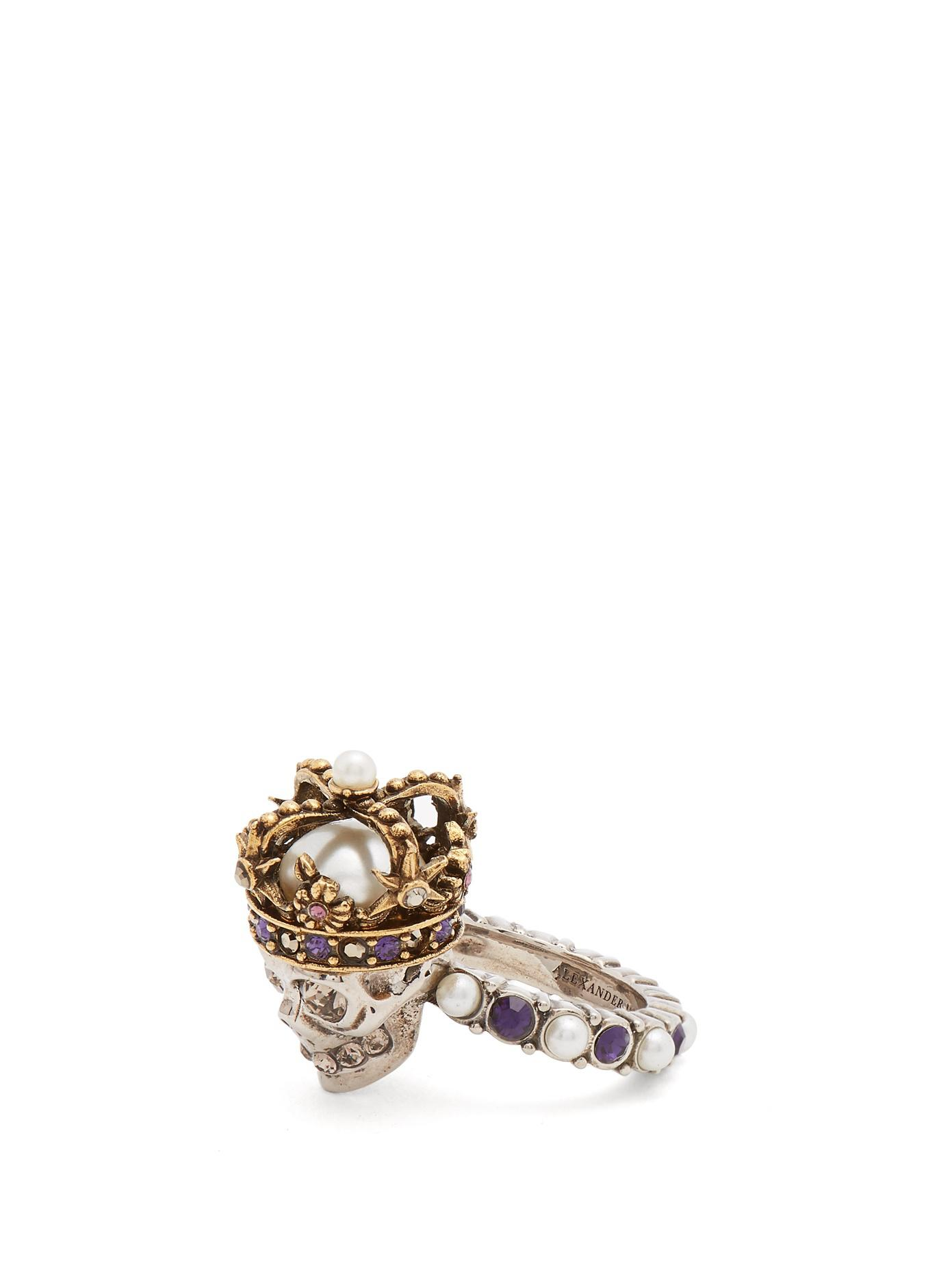 Skull faux pearl and crystal-embellished ring Alexander McQueen Ye0pAL4E