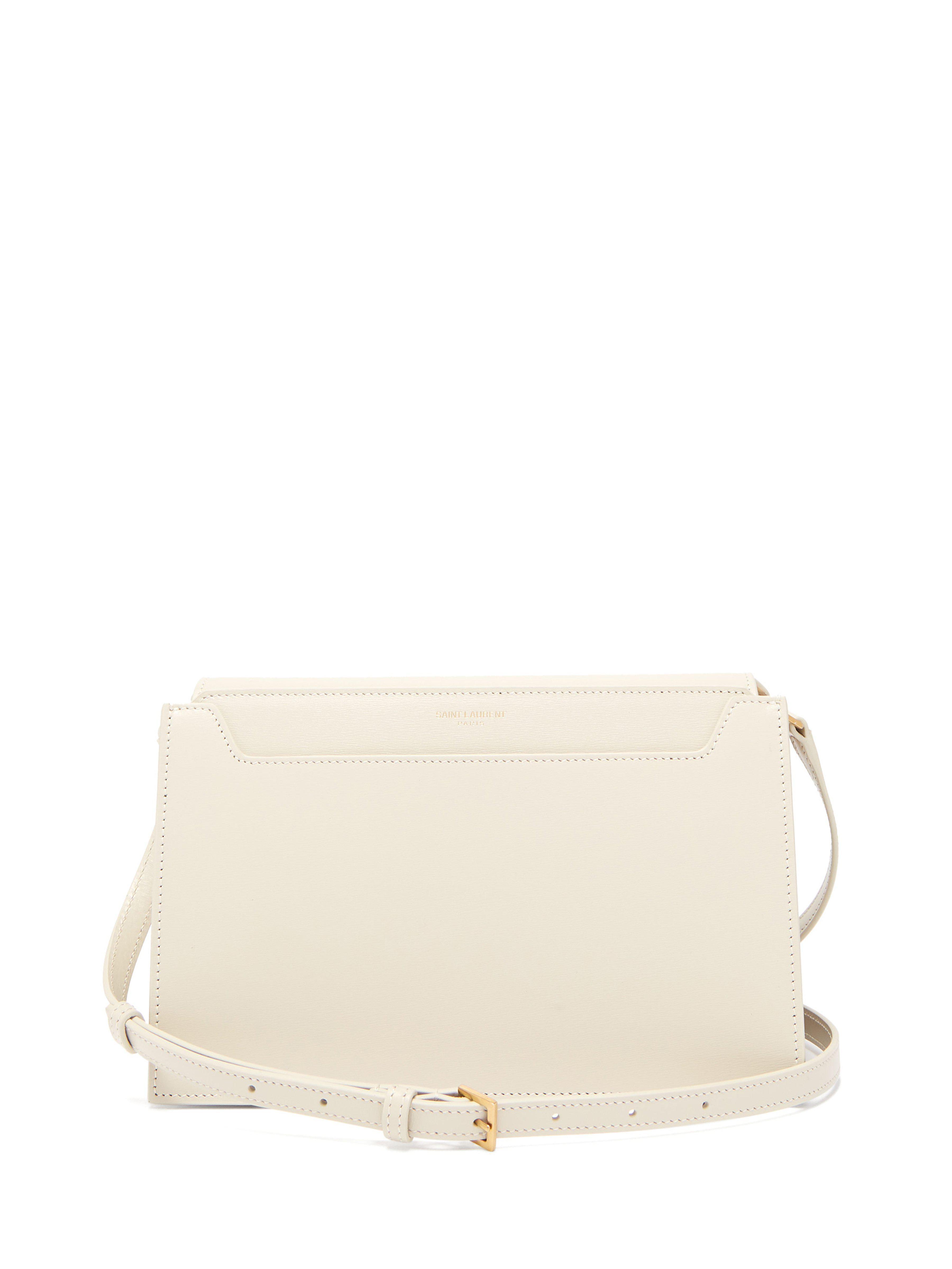 Saint Laurent Catherine Leather Cross Body Bag in White - Lyst 108b5eeab51d8
