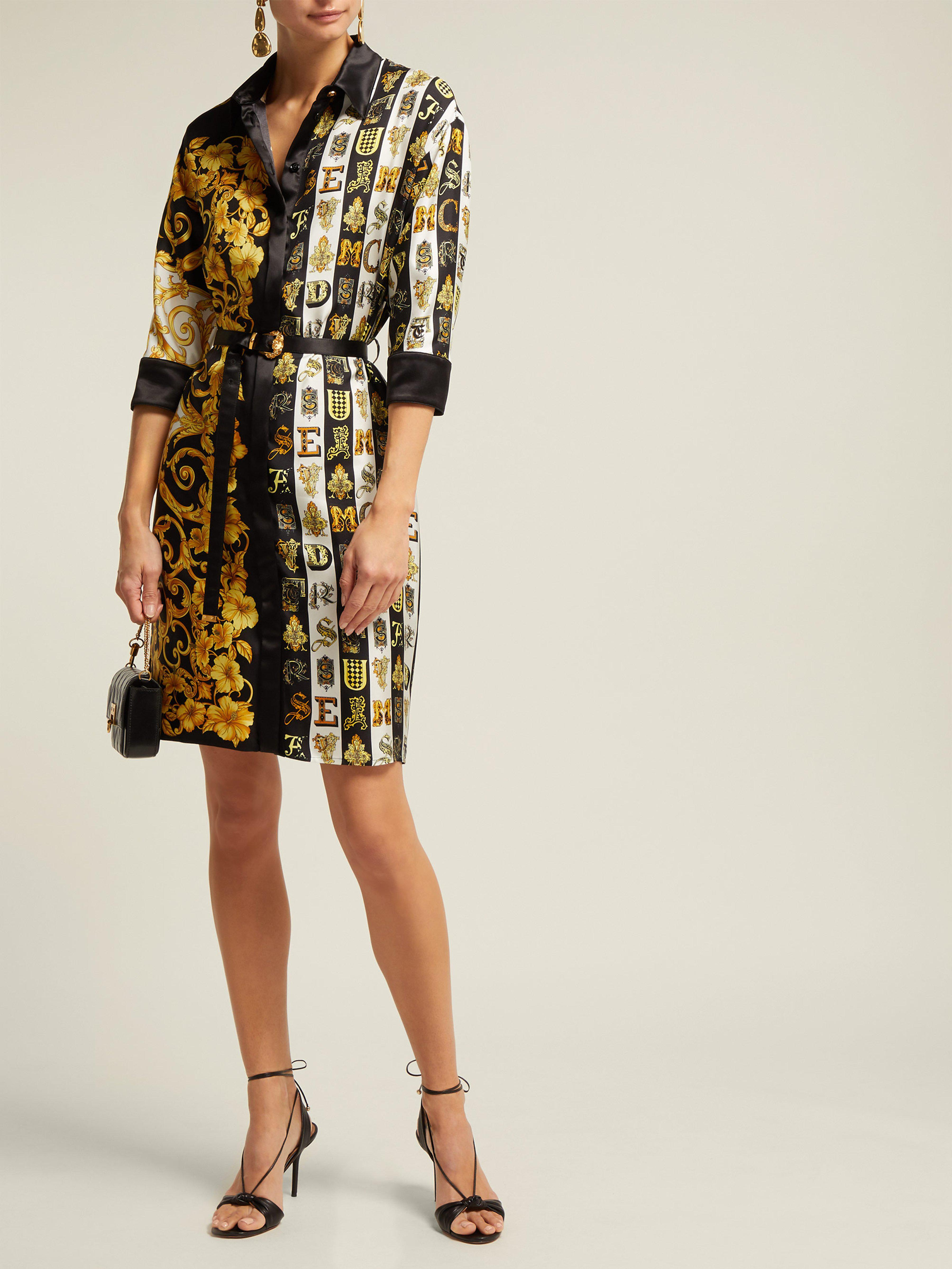 fa18a40c7b56 Versace Baroque Print Silk Twill Shirtdress - Lyst