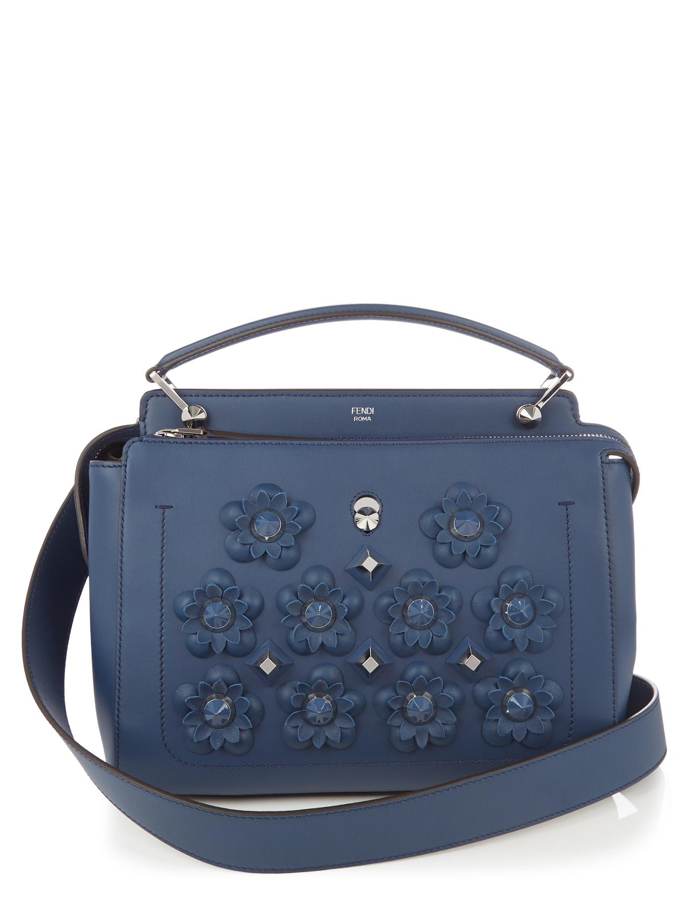 07b4010776db ... womens designer luxury bags fendi 0bacf fdd35 closeout lyst fendi  dotcom flowerland embellished leather bag in blue f7b26 dbc24 ...