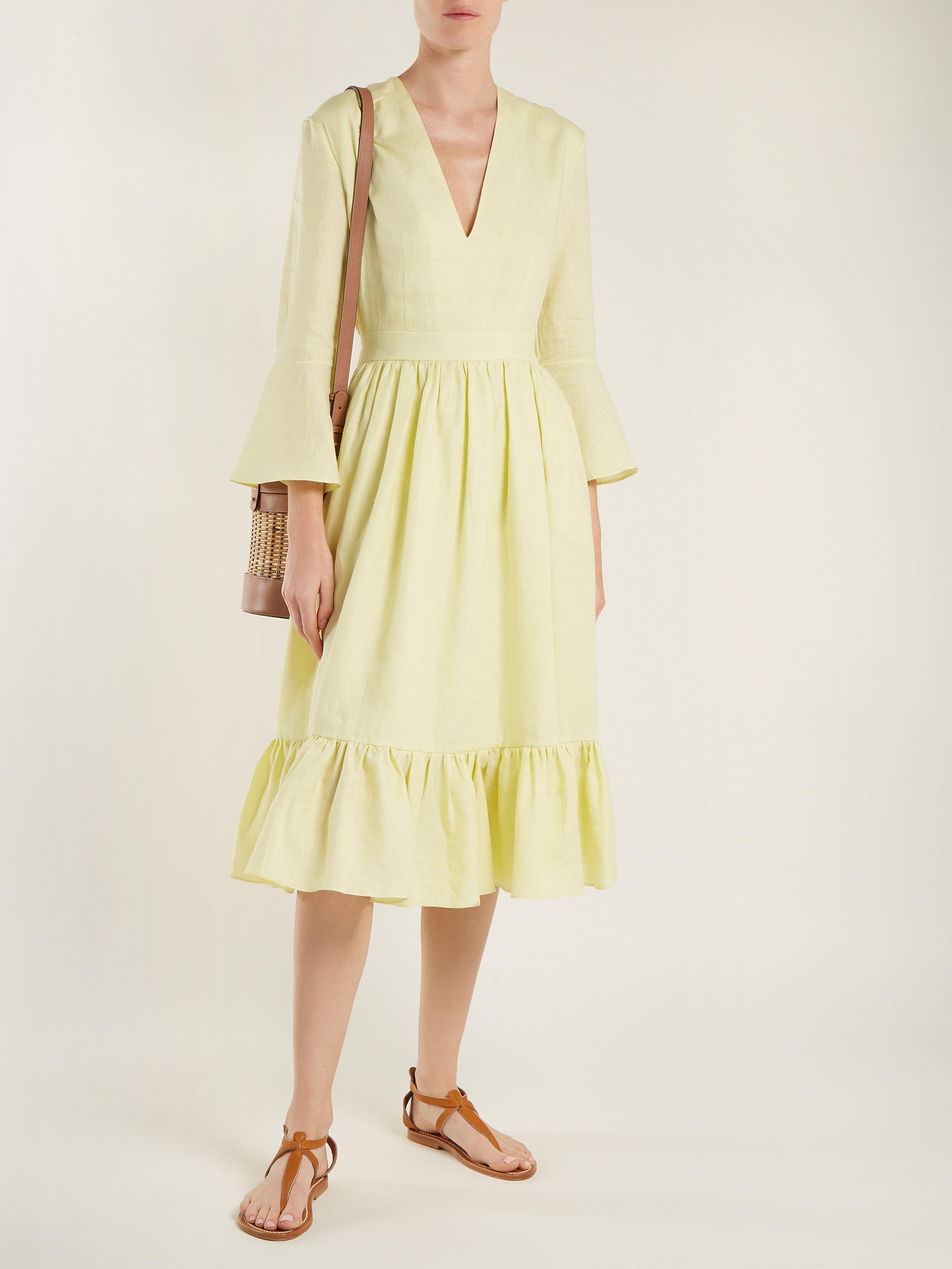 5577f52095 Loup Charmant Sea Island Linen Midi Dress in Yellow - Lyst