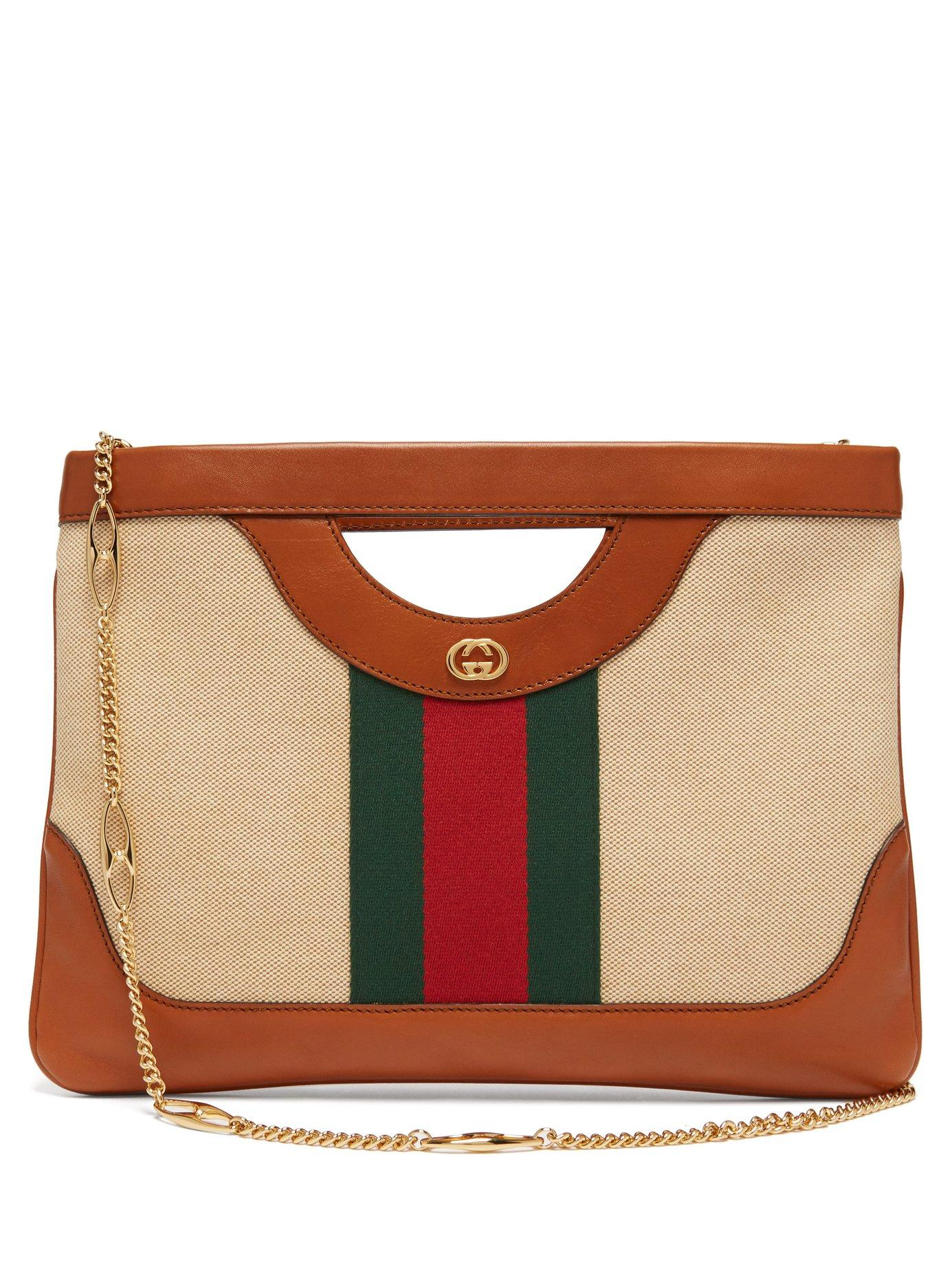 49fe6dba0d0 Gucci. Women s Web Stripe Canvas And Leather Tote Bag