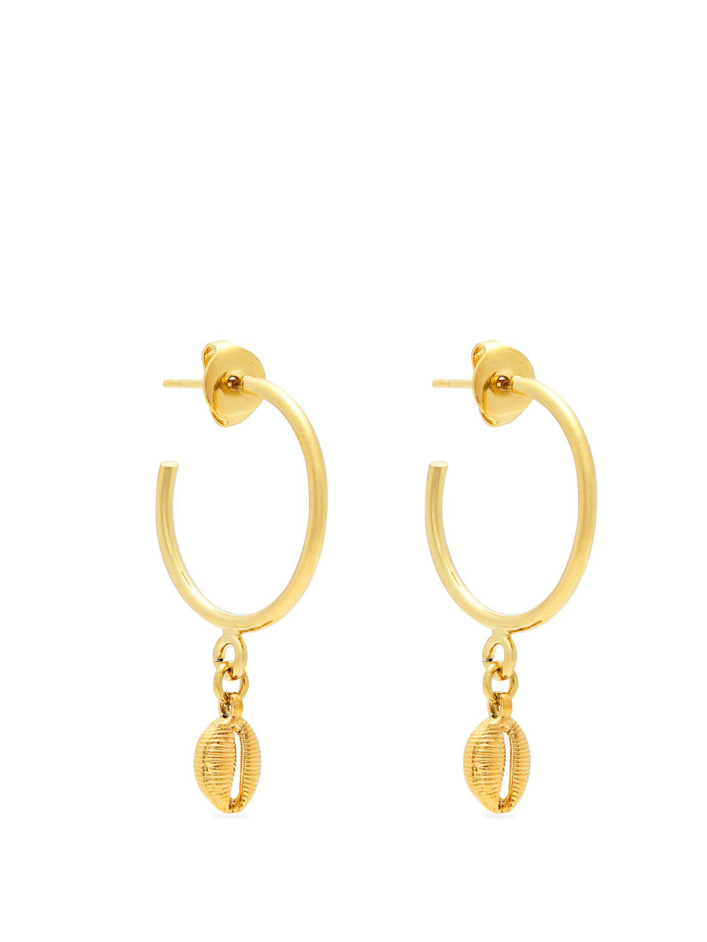 6d86e101136 Isabel Marant Shell Drop Hoop Earrings in Metallic - Lyst