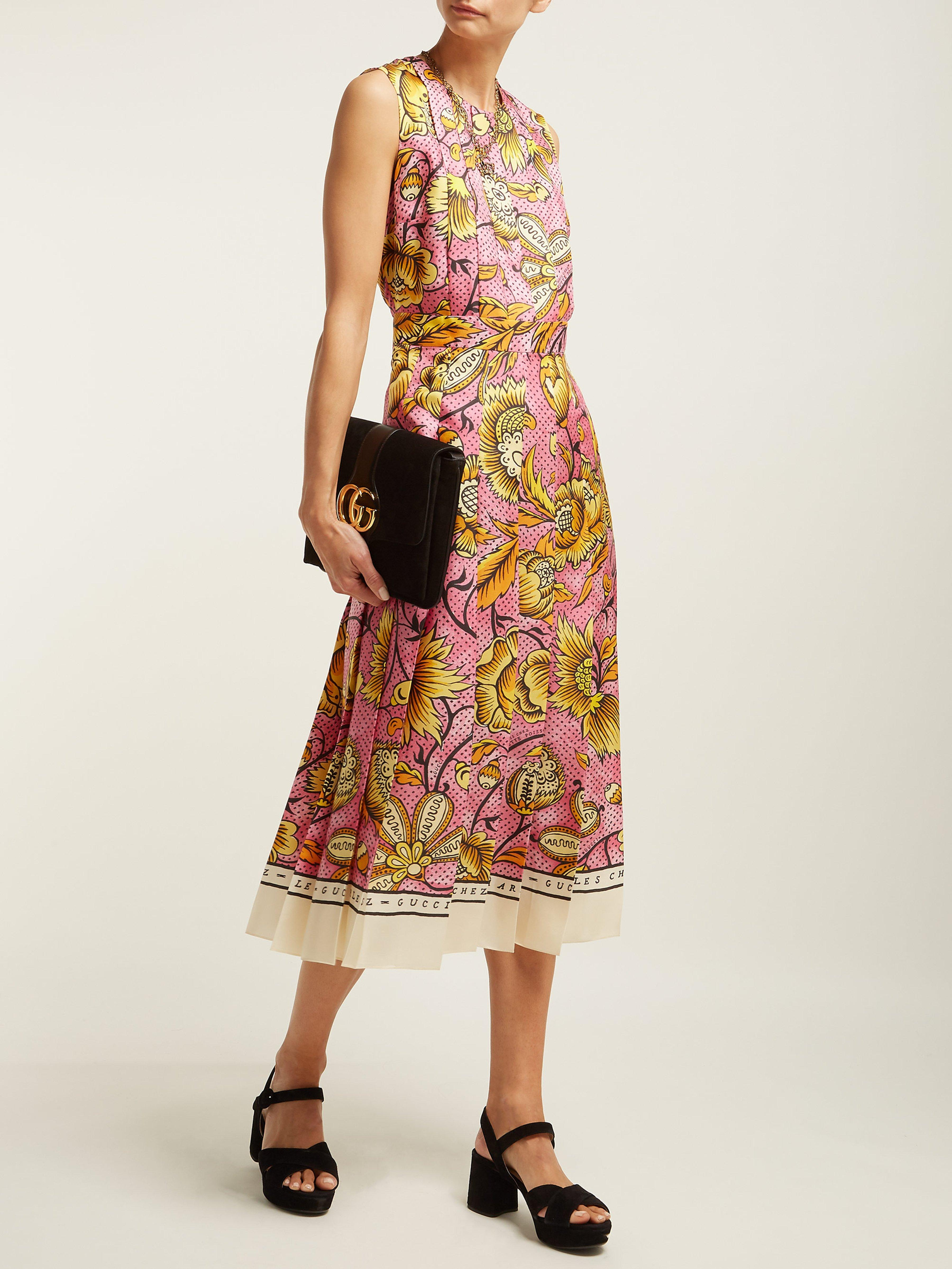 071cae08b Gucci Sleeveless Watercolor-floral Silk Midi Dress in Pink - Save 28% - Lyst