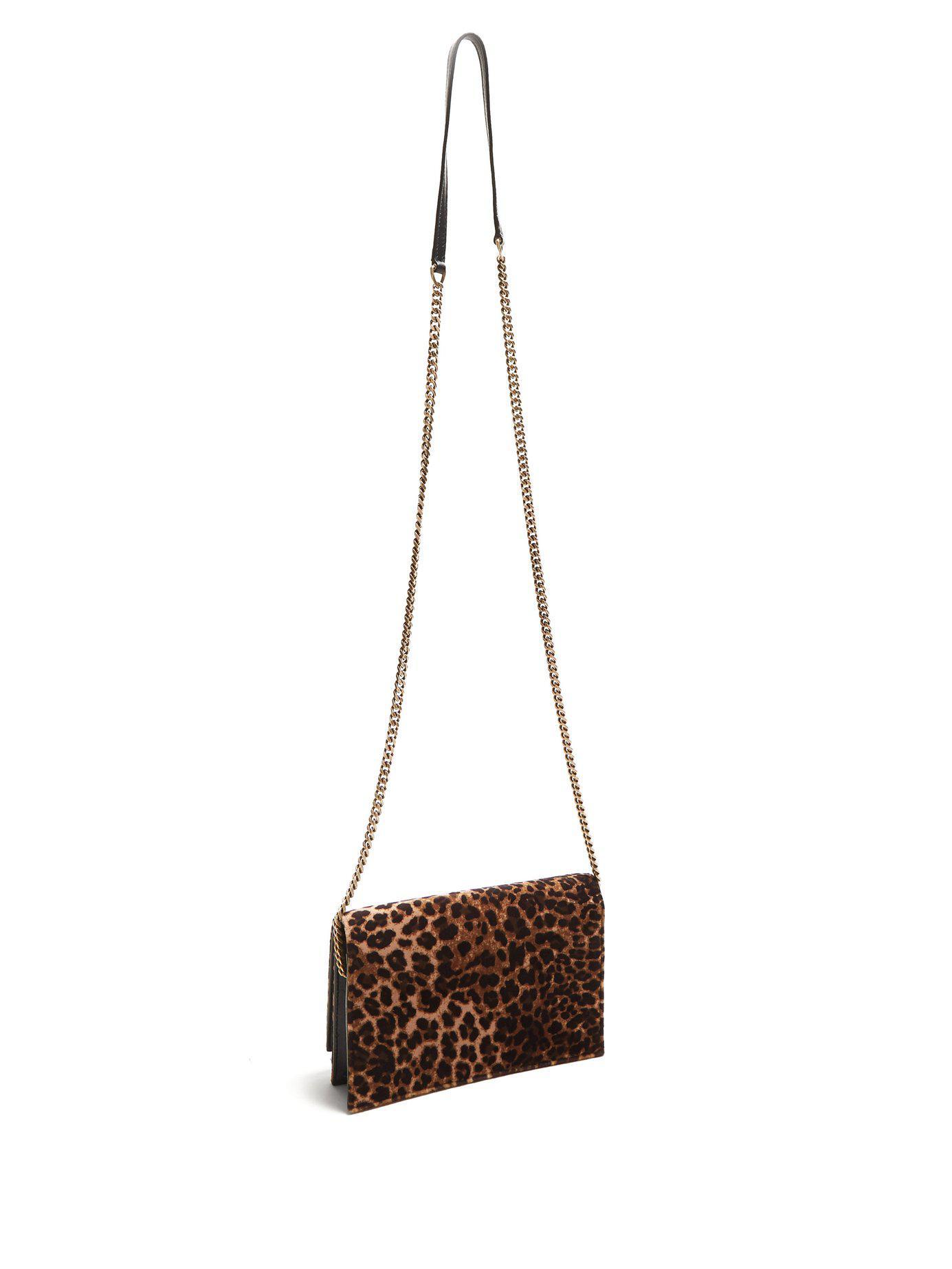 6d46a0d59183 Saint Laurent - Brown Kate Small Leopard Print Velvet Cross Body Bag - Lyst