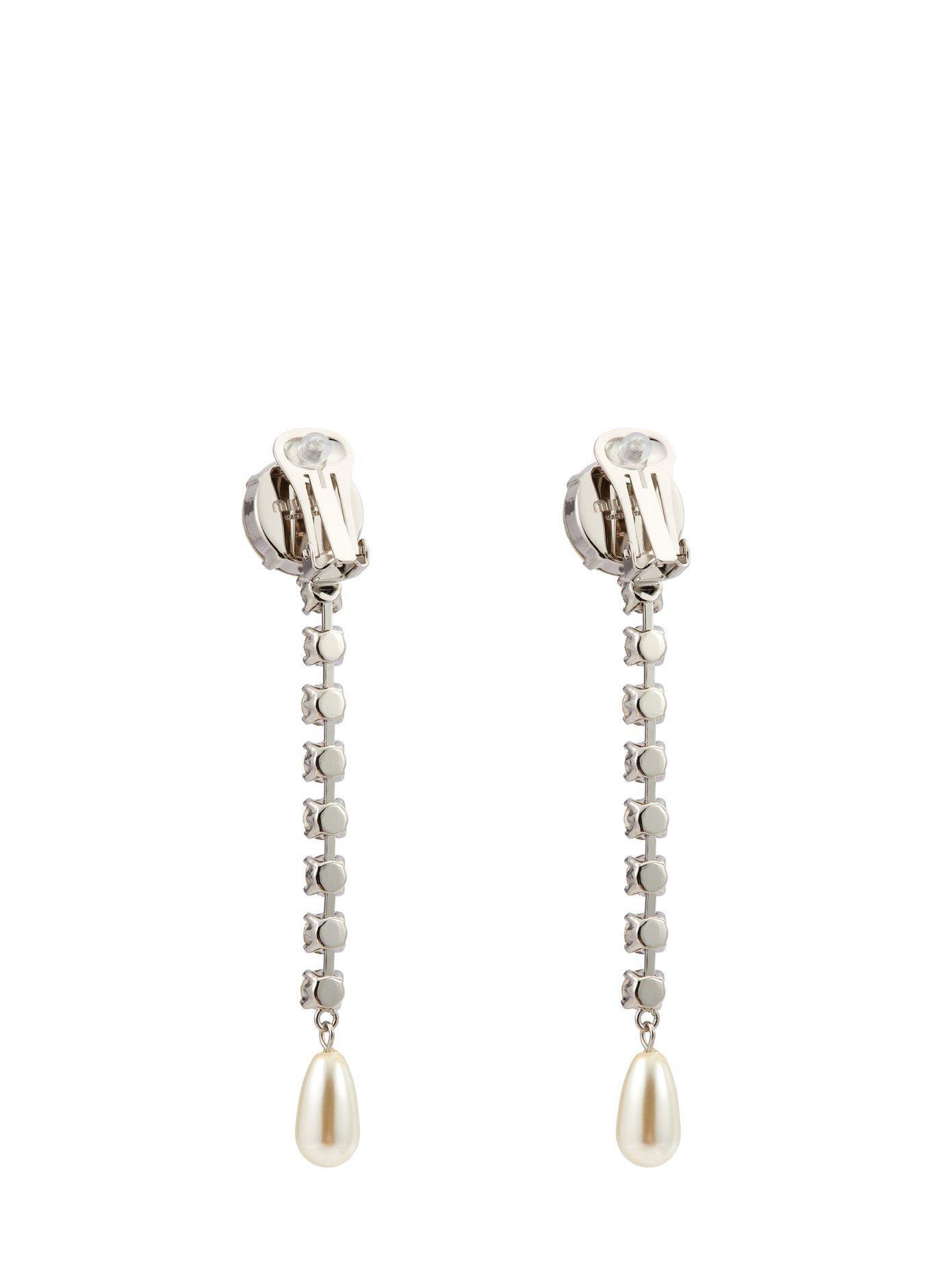 Miu Miu Crystal and pearl-embellished drop earrings RYhcw1Do