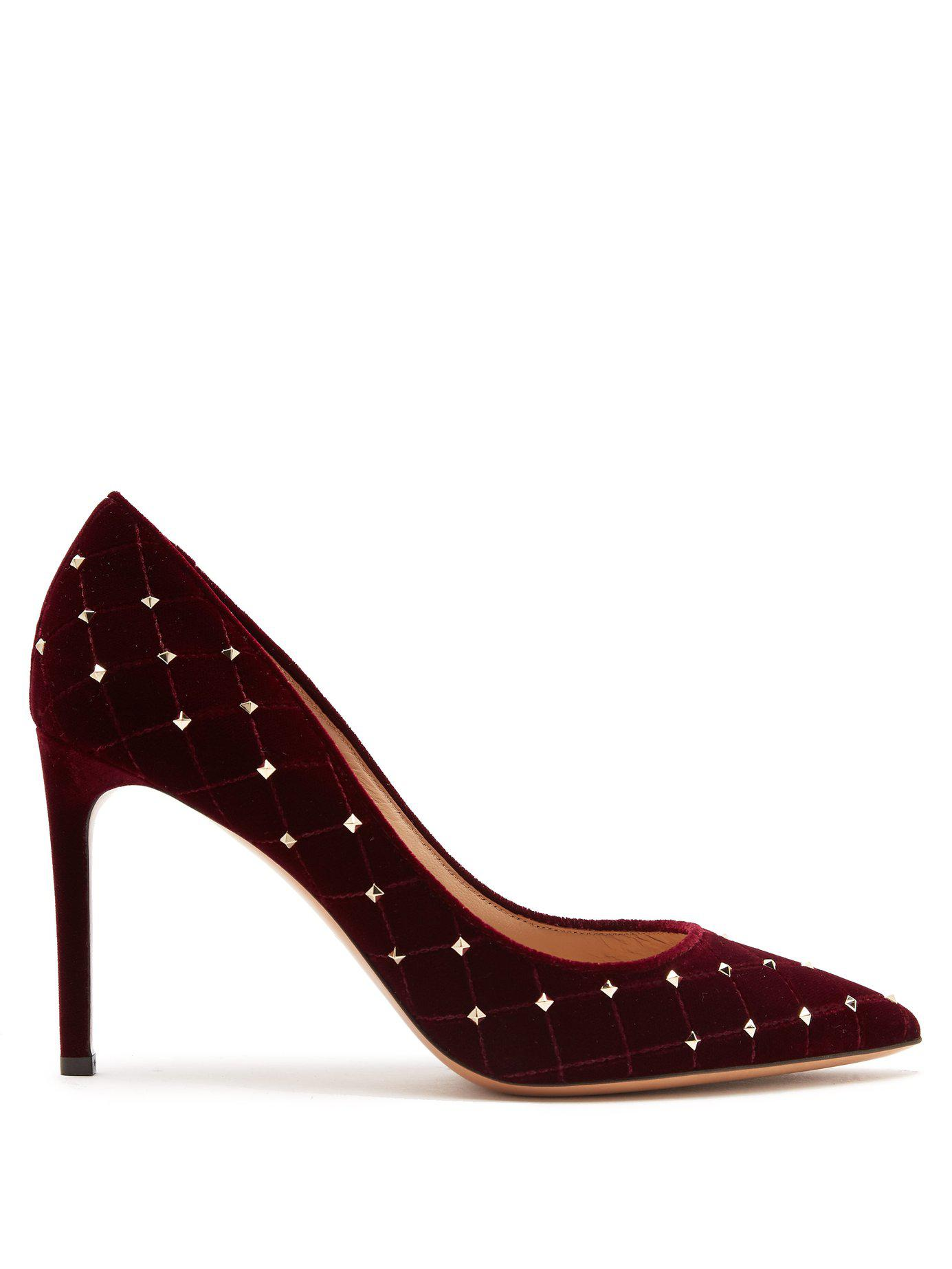 f5f9754f352 Lyst - Valentino Rockstud Spike Velvet Point Toe Pumps - Save 40%