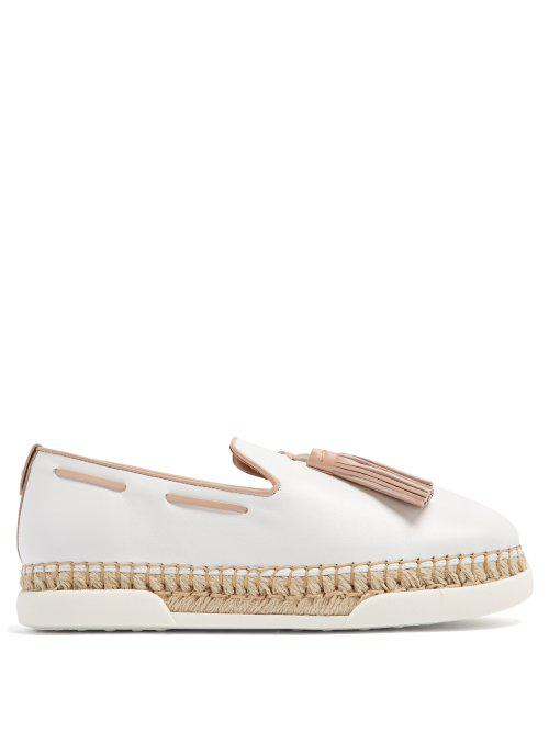 e1b1f457bd0 Lyst - Tod's Gomma Tassel-embellished Leather Espadrilles in White
