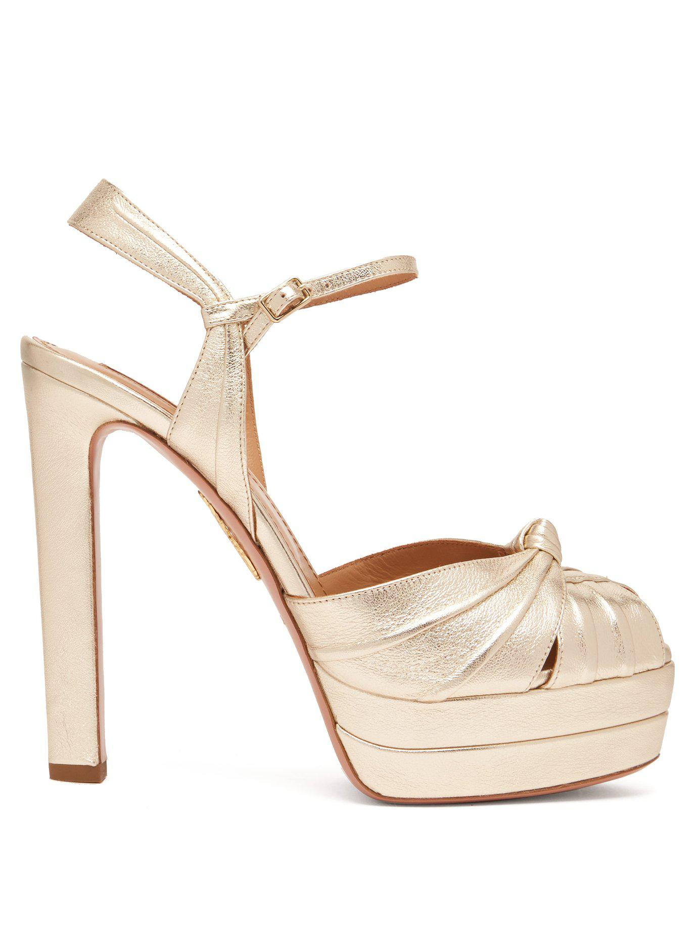 7333d30bfd1 Lyst - Aquazzura Evita 130 Metallic Platform Sandals in Metallic