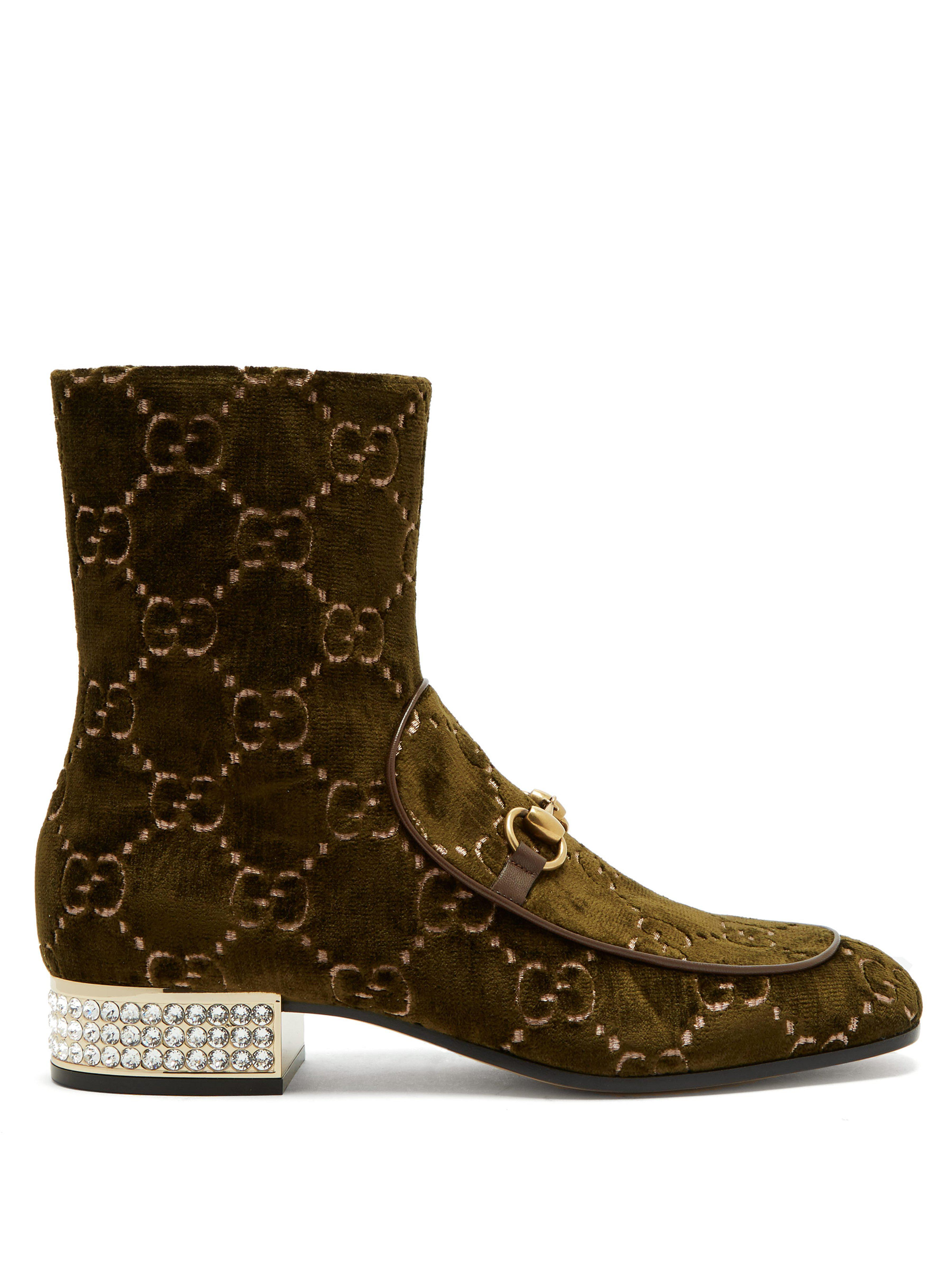 fbdc71ffa80b09 Gucci Mister Logo Jacquard Velvet Ankle Boots in Green - Lyst