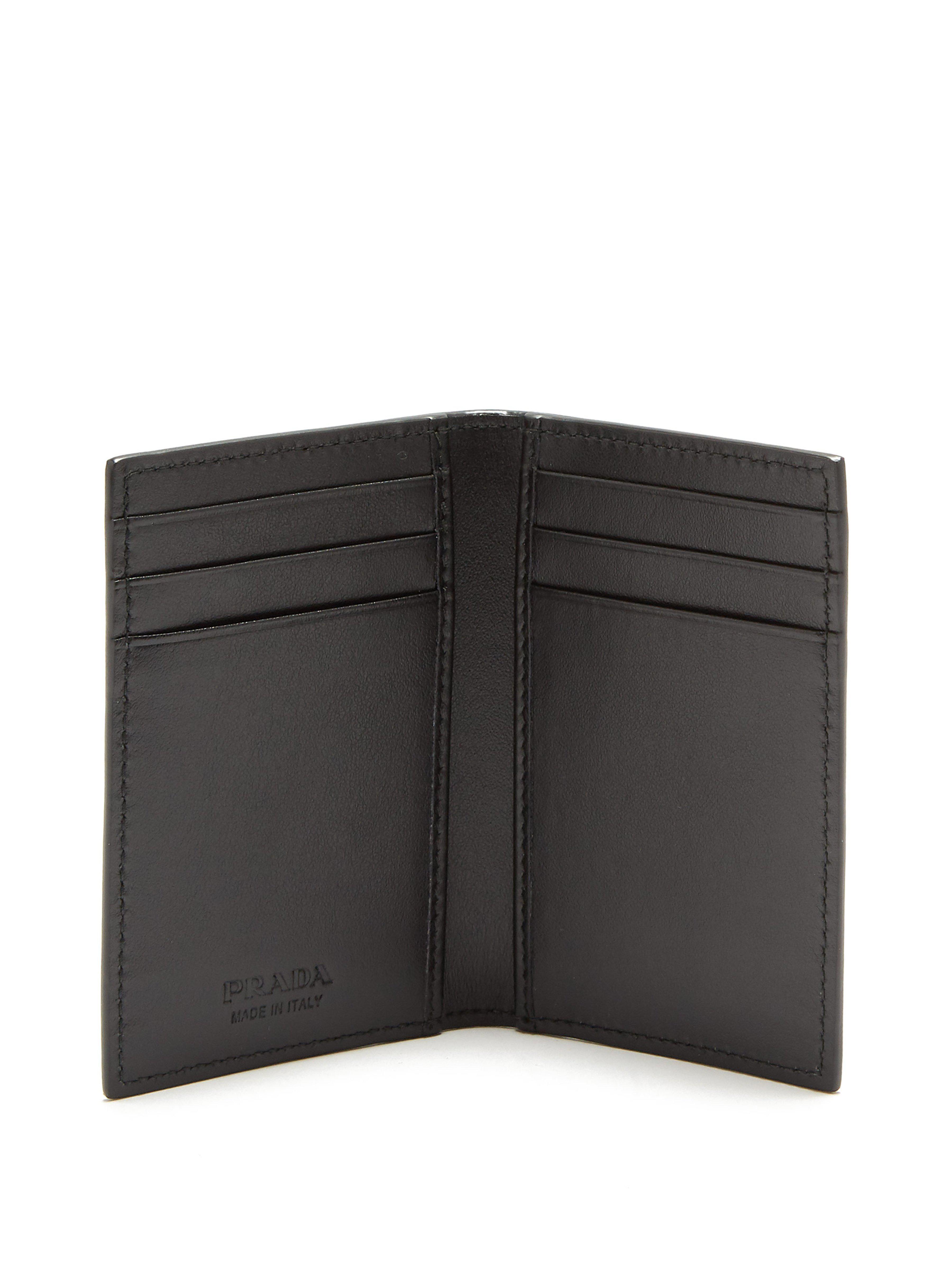 be775cb6b93c Prada Logo Print Bi Fold Cardholder in Black for Men - Lyst
