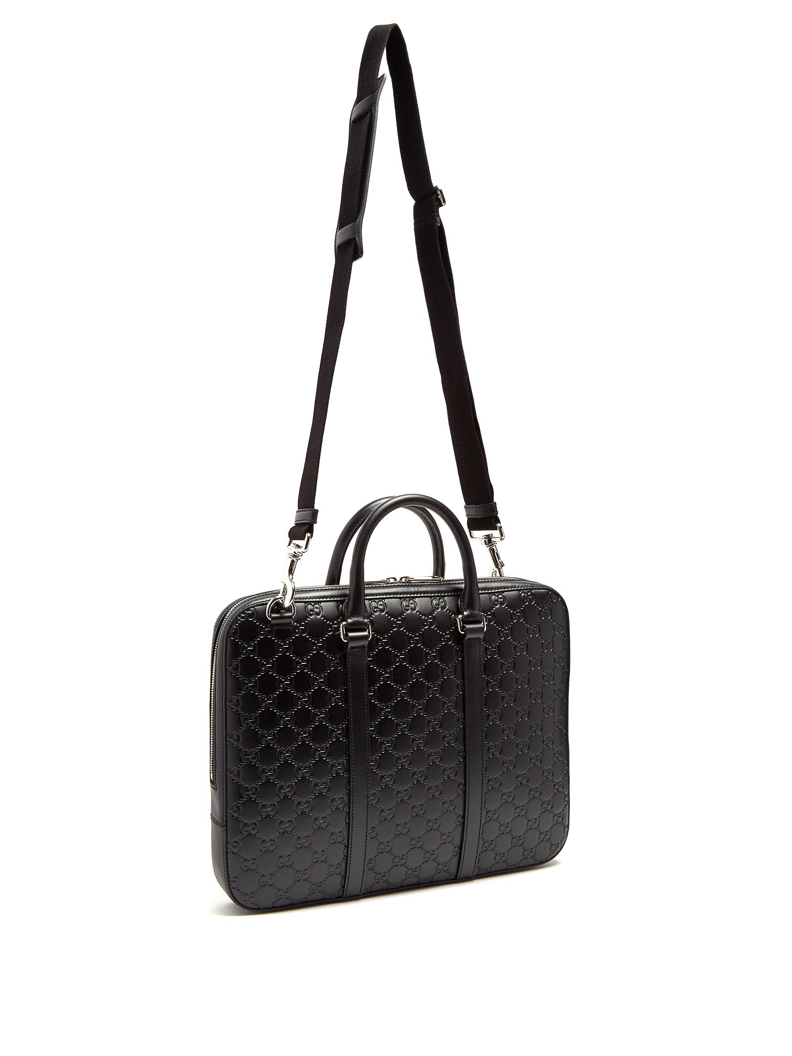 439796d89a8c Gucci Logo-debossed Leather Briefcase in Black for Men - Lyst