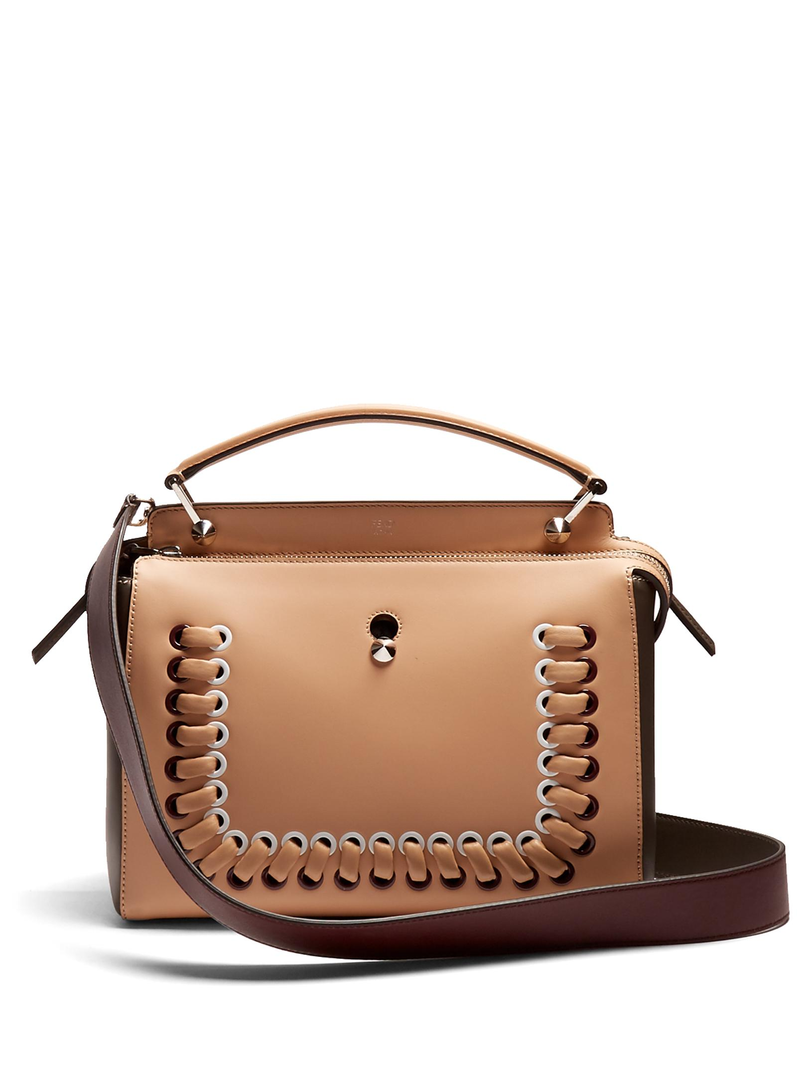 abf692bf2f09 Lyst - Fendi Dotcom Bi-colour Whipstitch Leather Bag