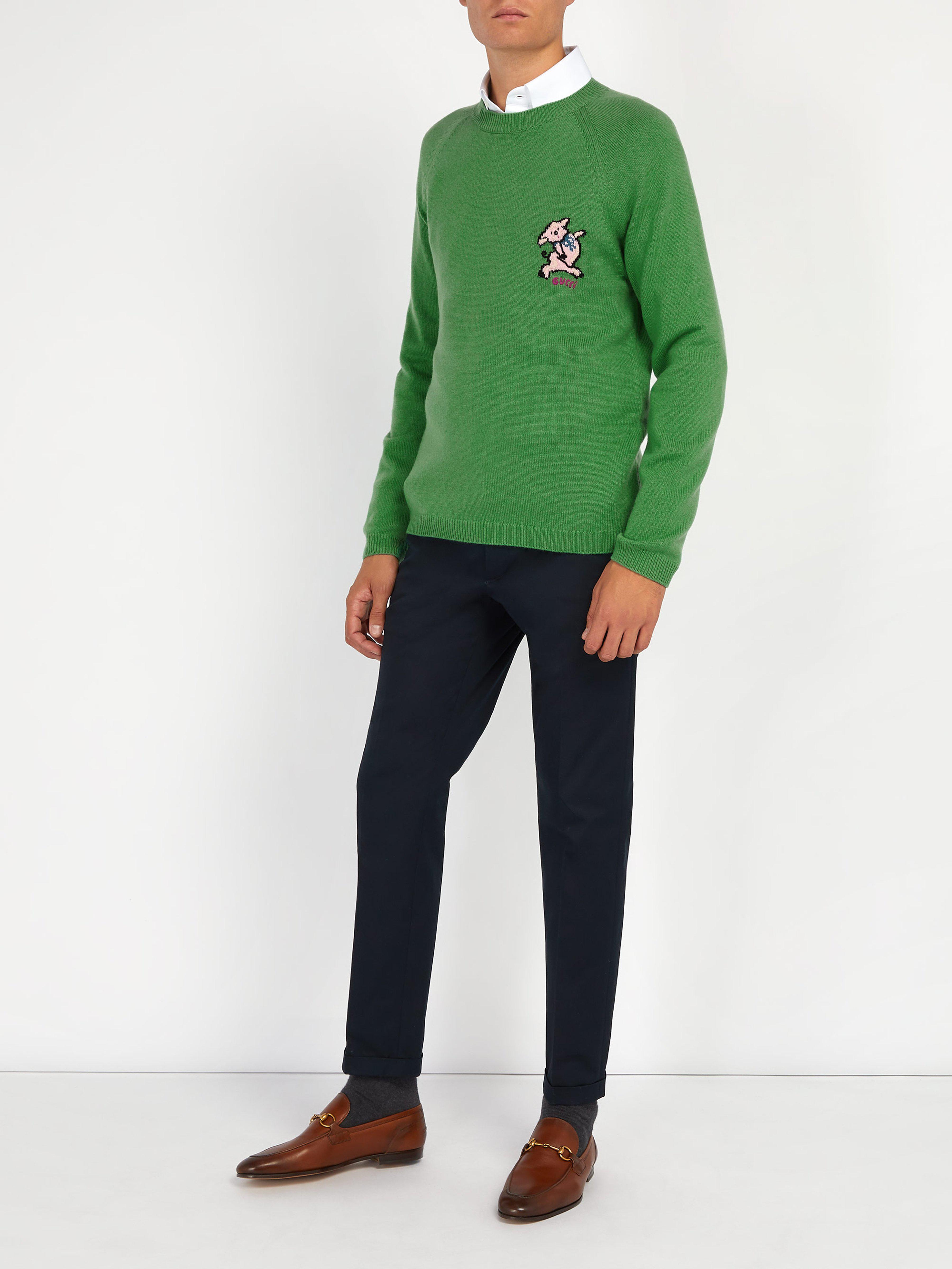 e98c6e6916e Gucci Pig Appliqué Patch Cashmere Sweater in Green for Men - Lyst