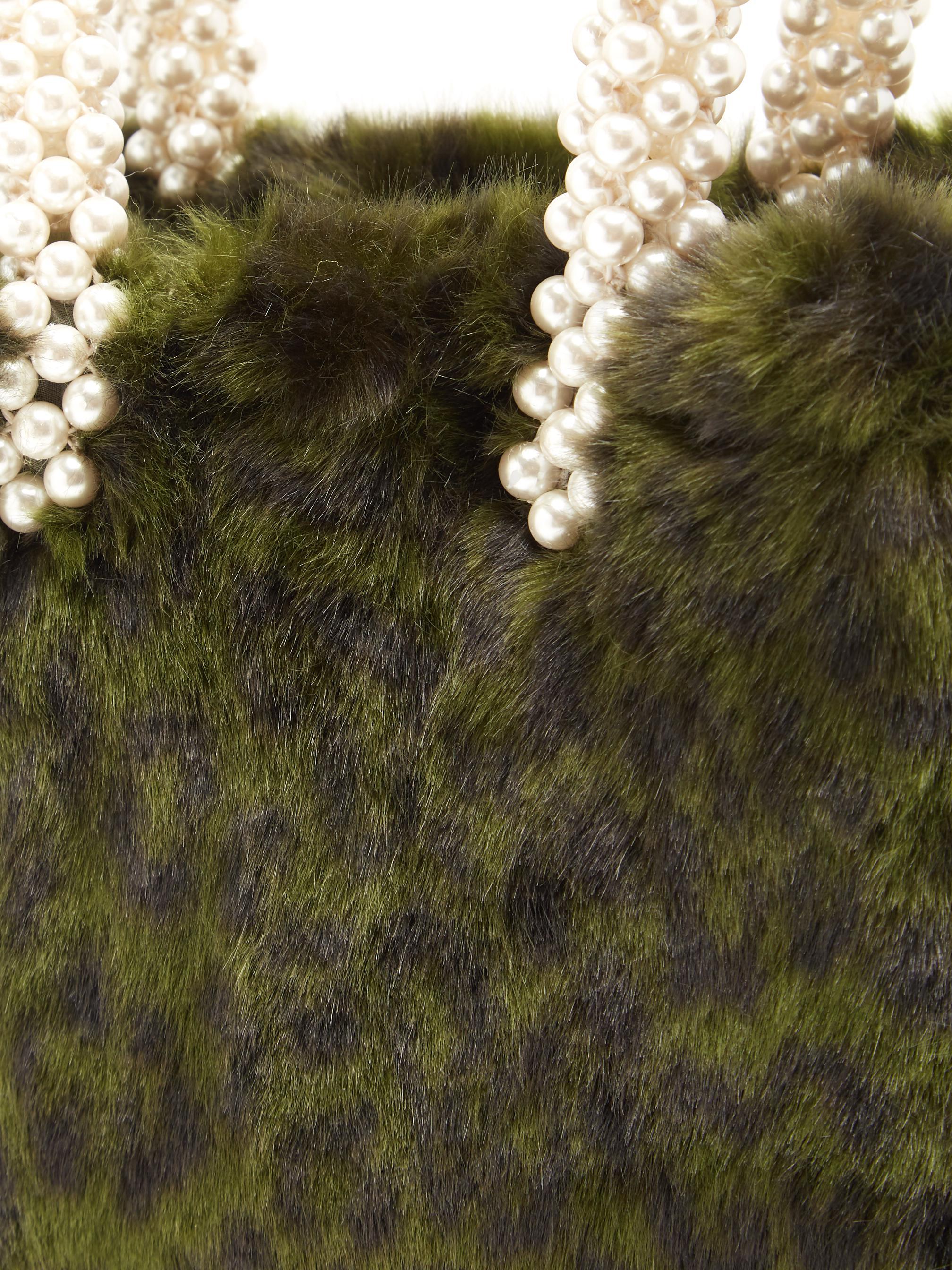 Lyst - Shrimps Una Leopard-print Faux-fur Bag in Green 53417fe1df28a